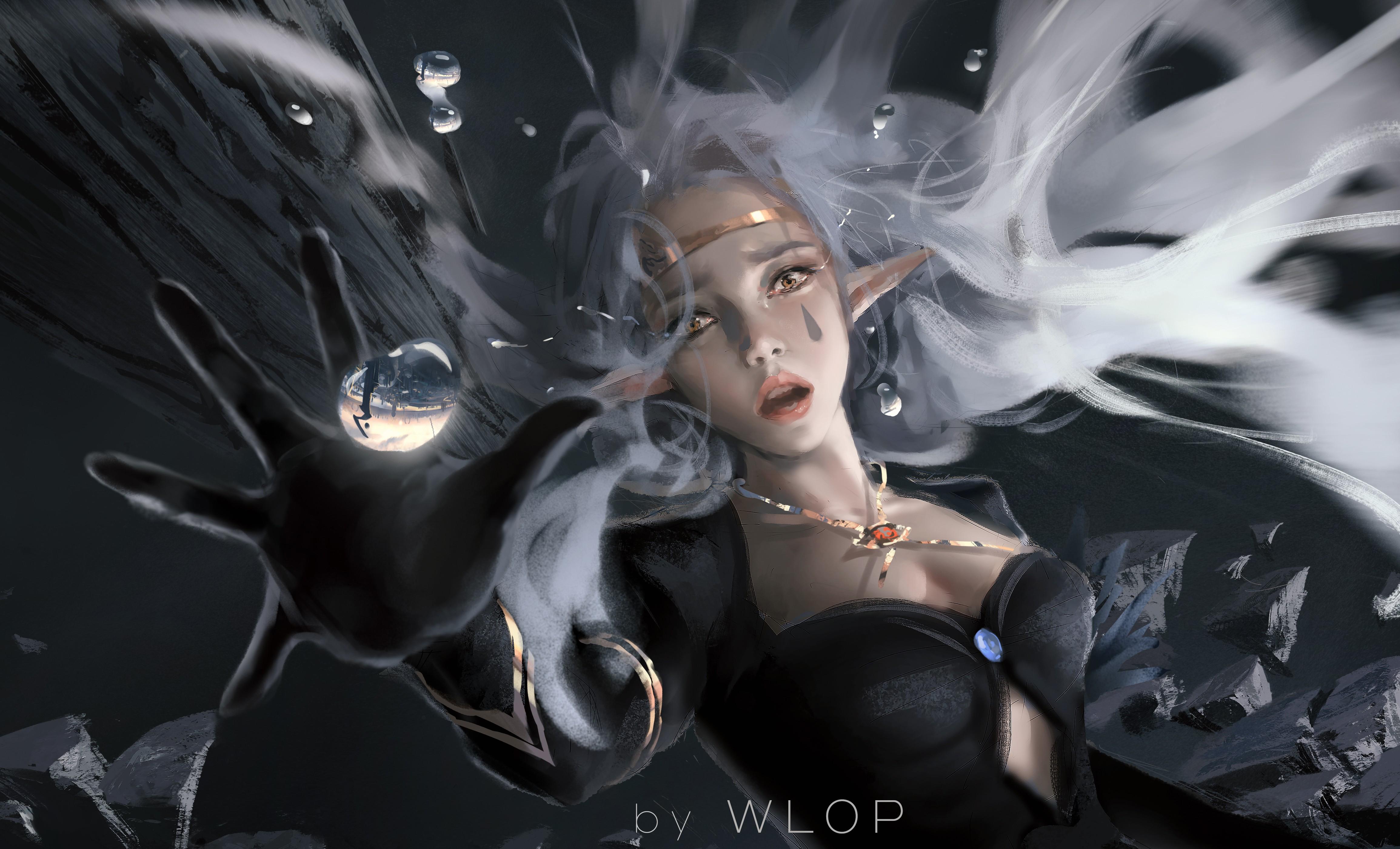 General 4619x2802 WLOP digital art artwork women white hair yellow eyes cleavage pointy ears looking at viewer falling necklace long hair fantasy girl fantasy art elves