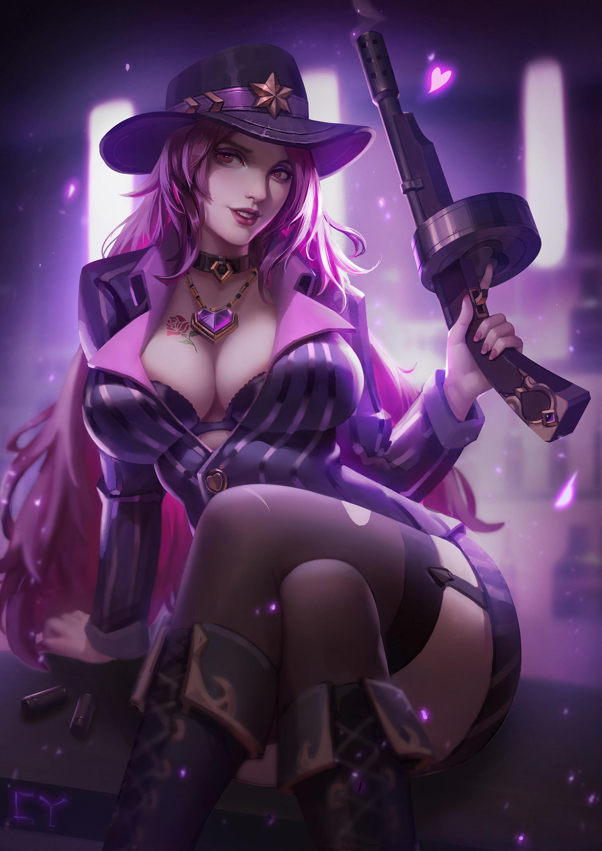 General 1920x2716 Chengyou Liu women fantasy girl pink hair boobs gun Miss Fortune (League of Legends) League of Legends