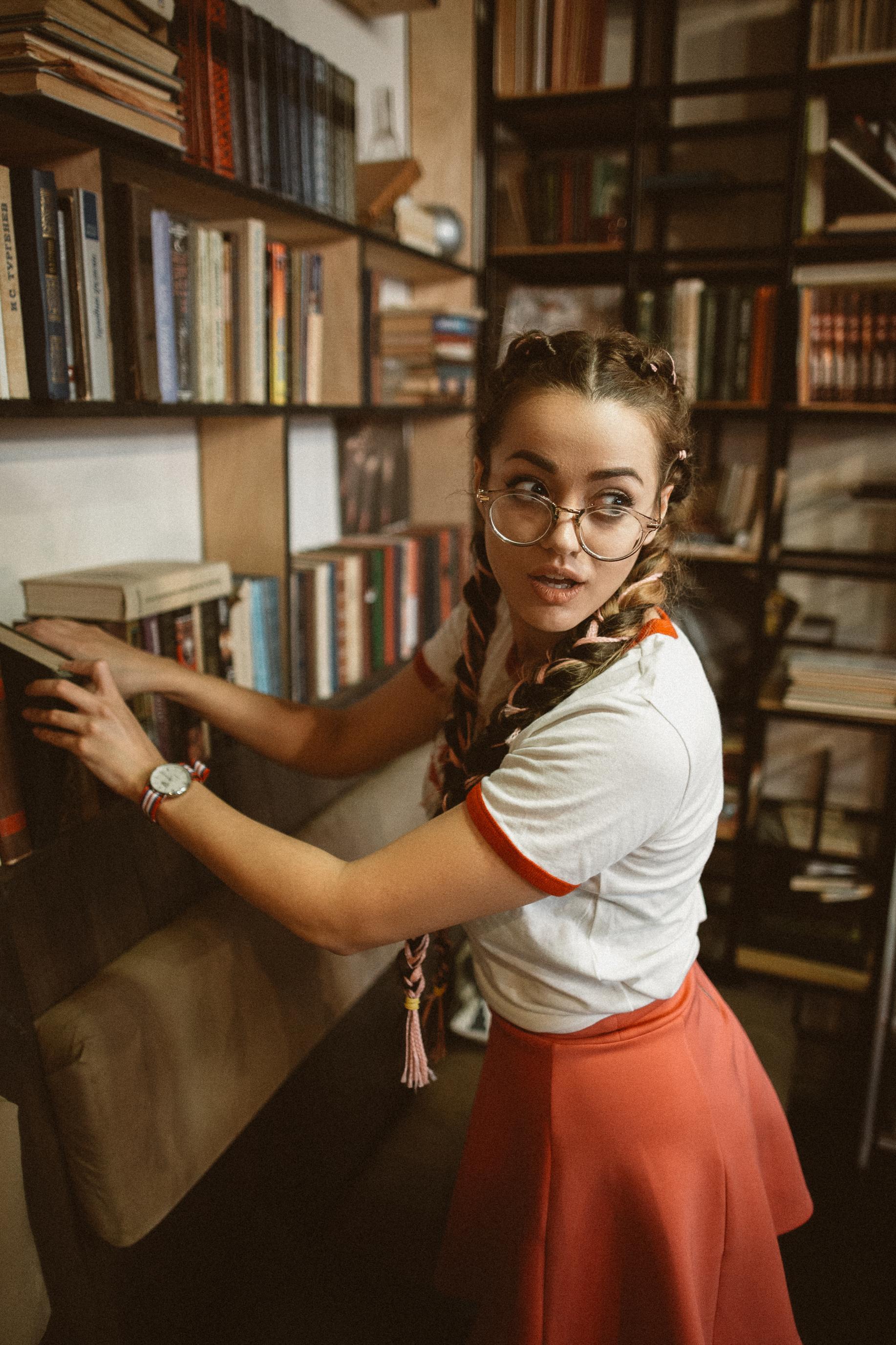 People 1834x2751 bookshelves books book store women women with glasses braids braided hair