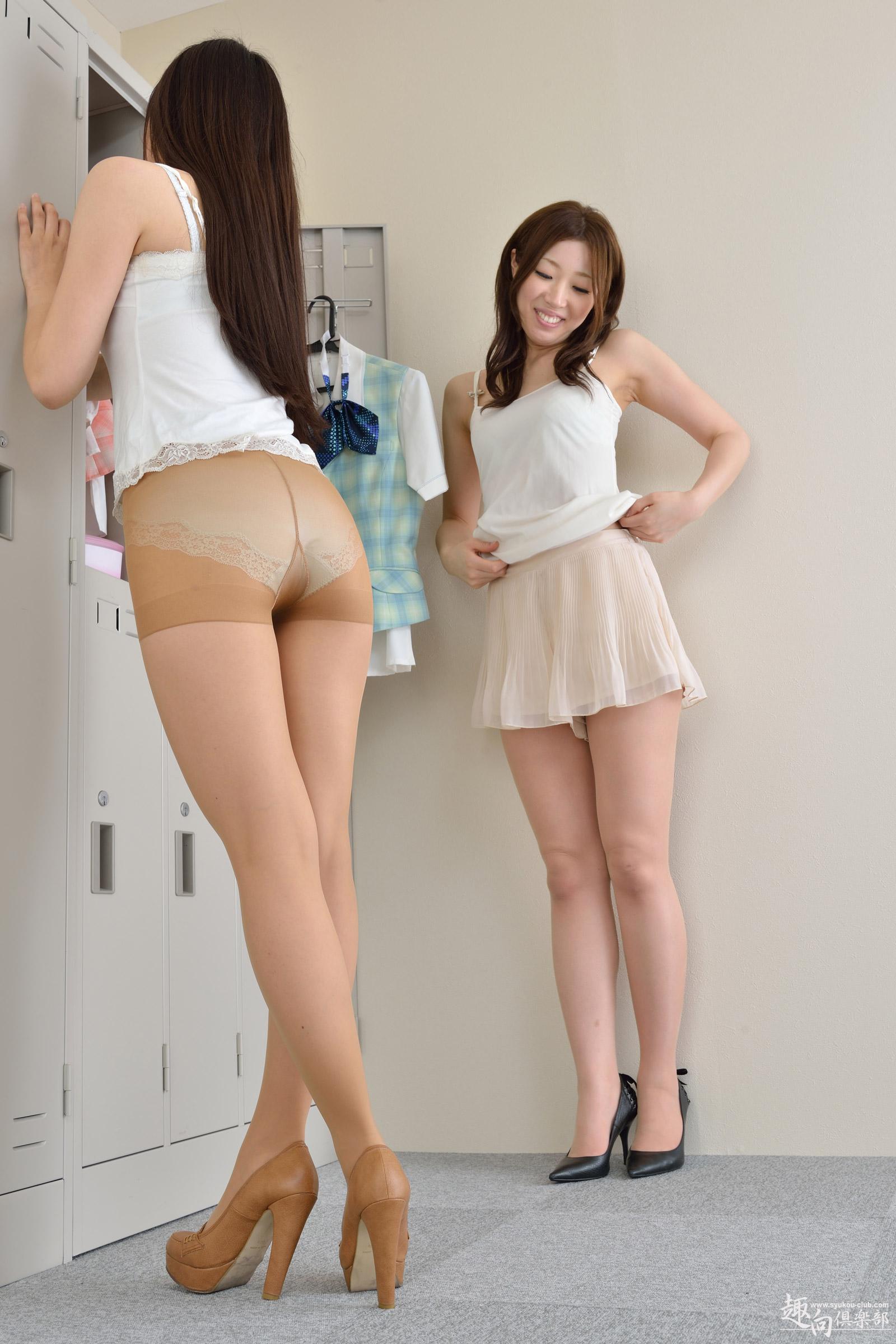 People 1600x2400 women model brunette long hair Asian portrait display pantyhose high heels smiling miniskirt ass lockers tank top Asuka Ichinose