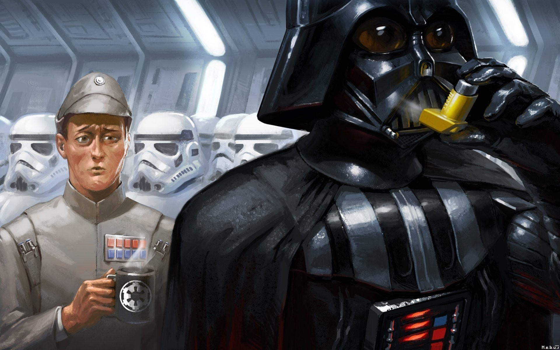 General 1920x1200 Darth Vader stormtrooper humor Star Wars cup Star Wars Humor