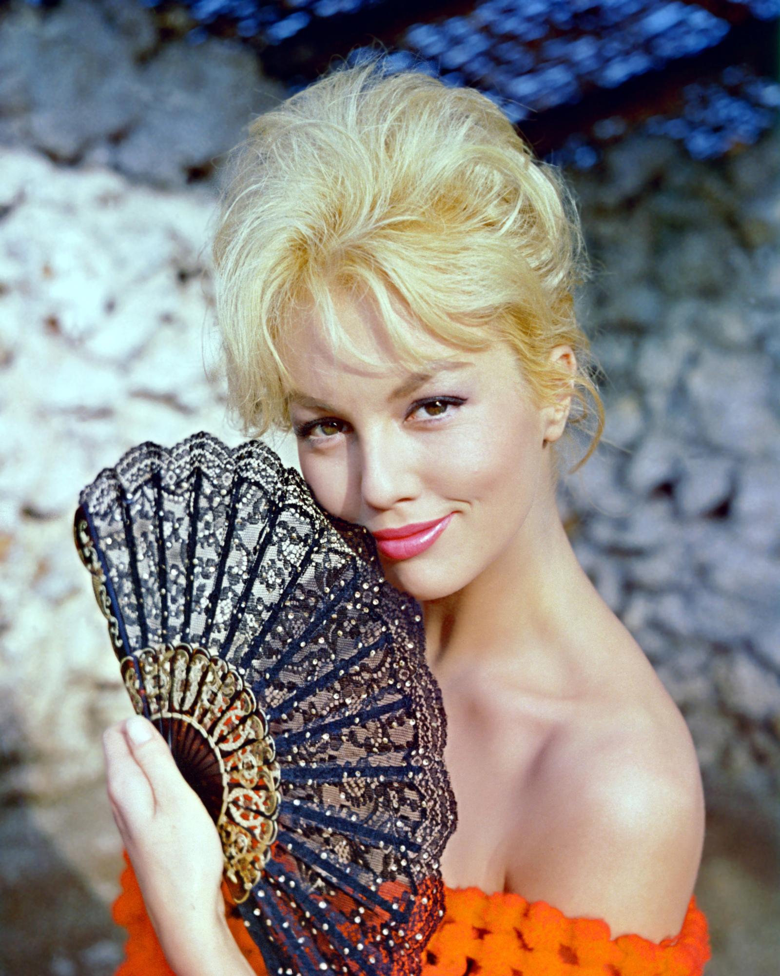 People 1600x2000 women actress blonde long hair Mylène Demongeot French vintage old photos portrait display smiling bare shoulders bangs orange dress brown eyes