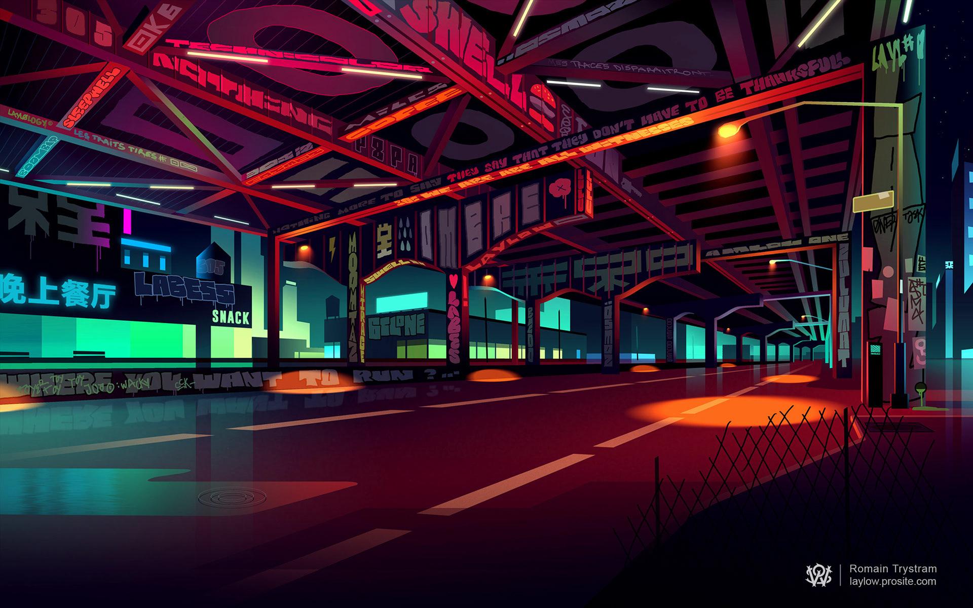 General 1920x1200 digital art cityscape city lights colorful street street light Romain Trystram