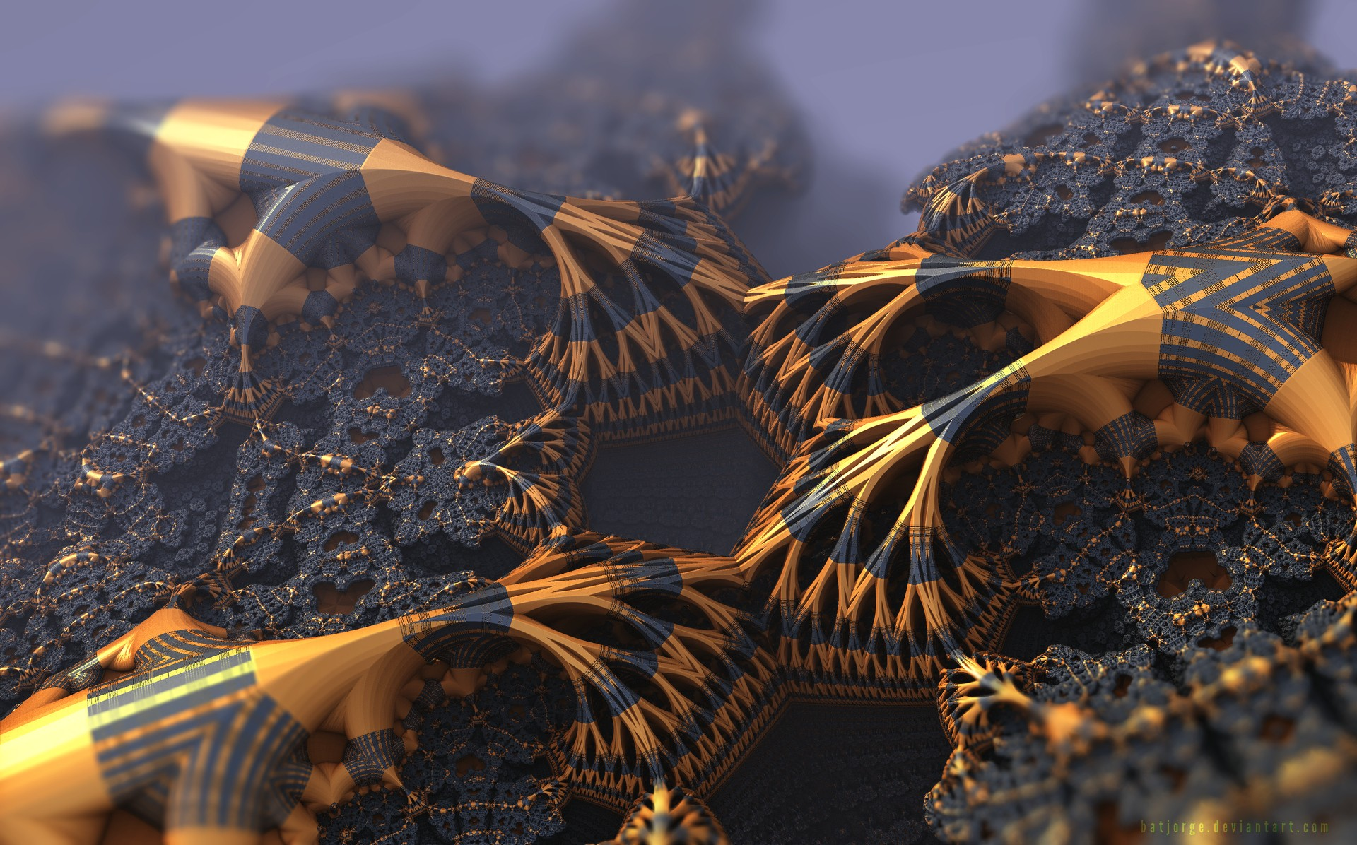 General 1920x1196 3D fractal fractal gold black abstract