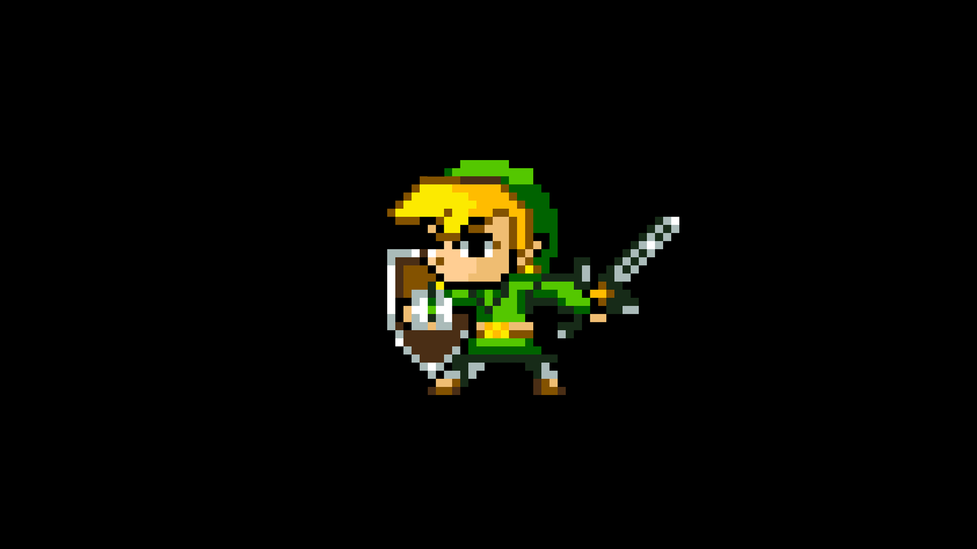 General 1920x1080 8-bit The Legend of Zelda Link minimalism pixels video games simple background black background retro games