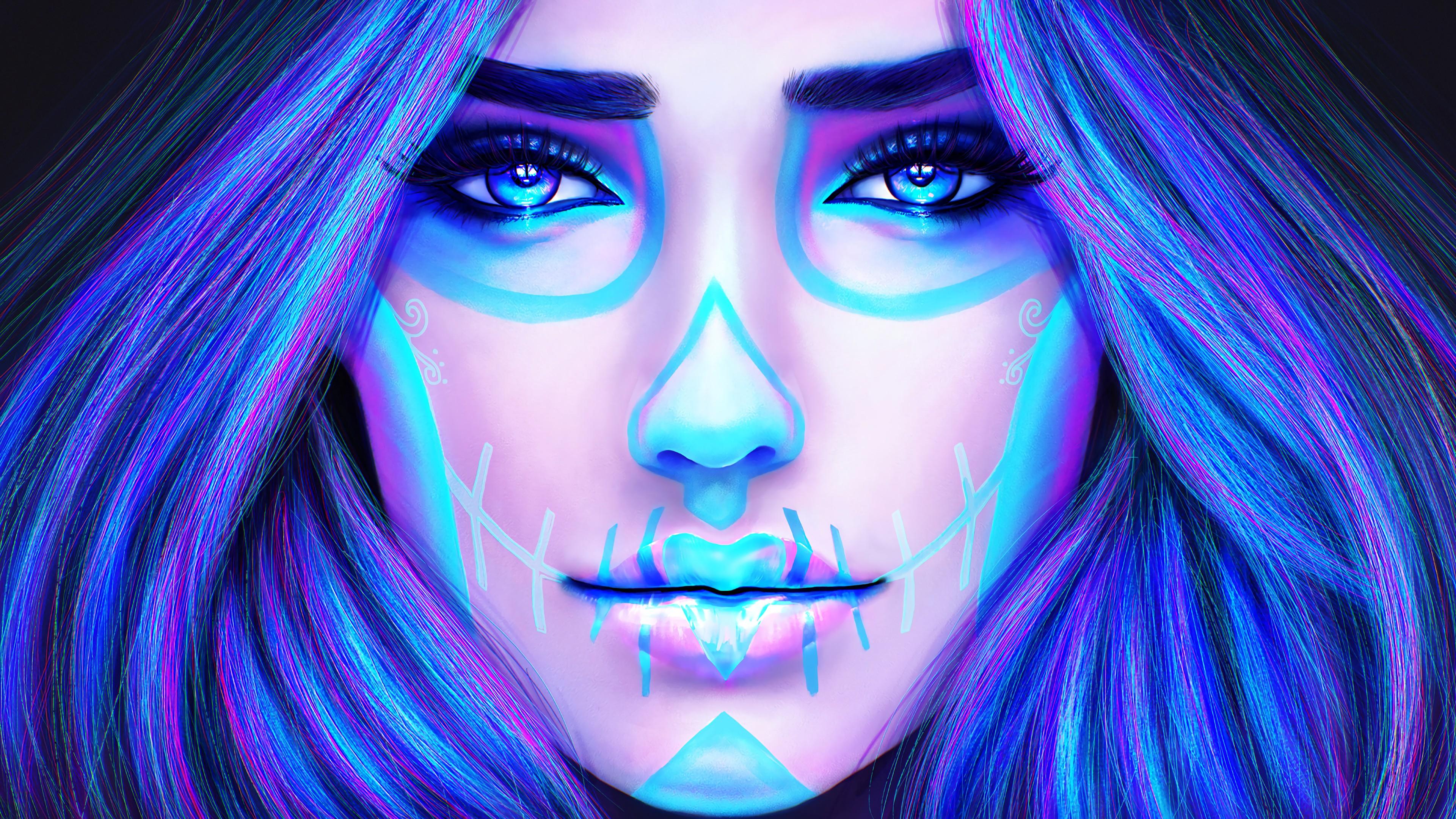 People 3840x2160 women makeup people MagicnaAnavi DeviantArt face colorful blue eyes fantasy art fantasy girl blue
