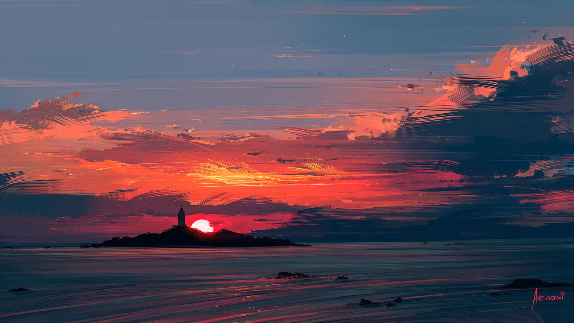 General 1920x1080 sunset water illustration Aenami artwork digital art sea island