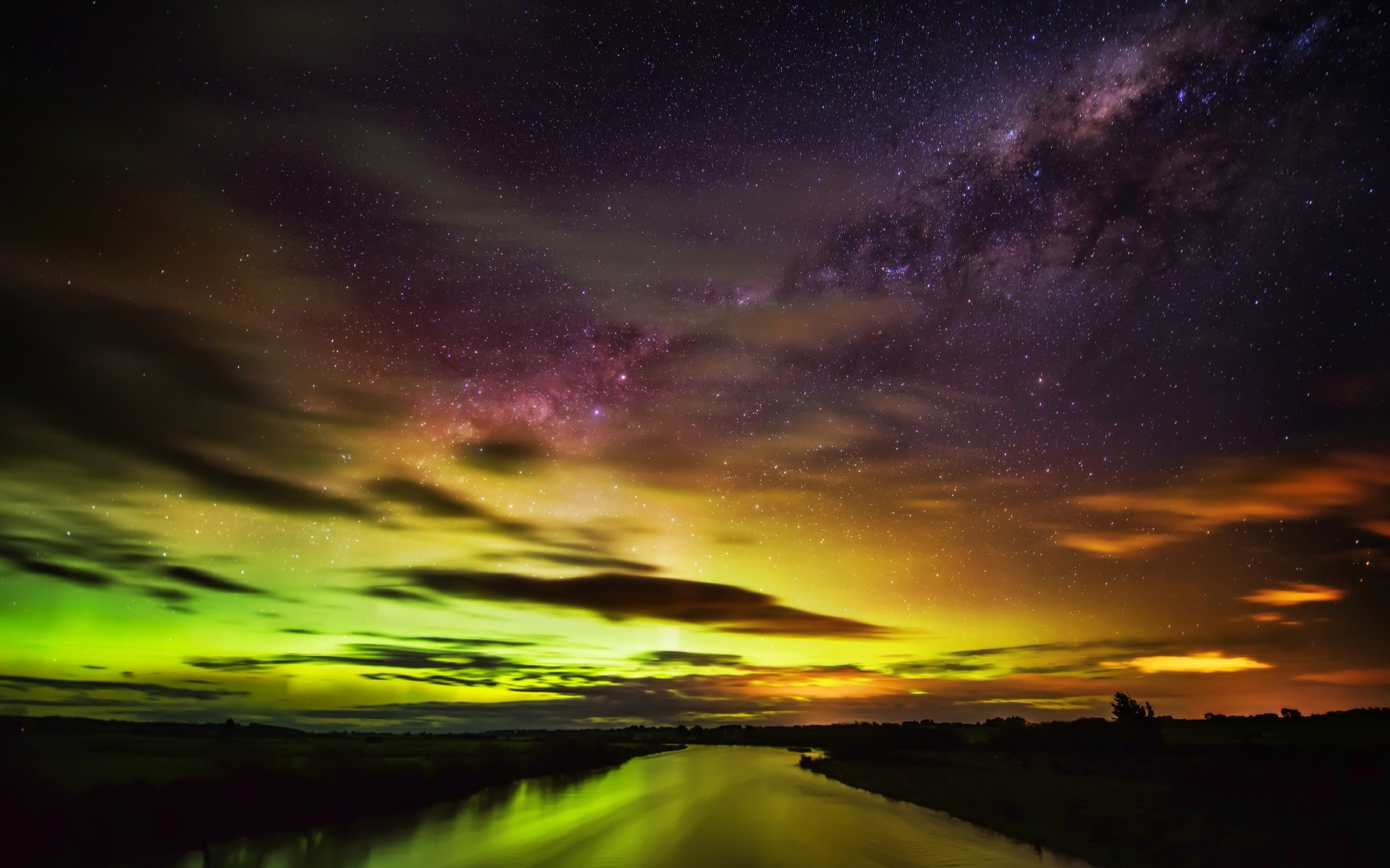 General 1920x1200 New Zealand nebula stars night river colorful