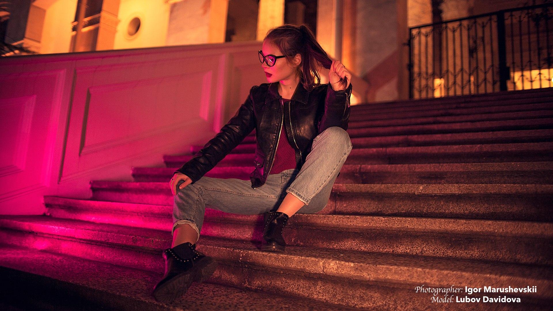 People 1920x1080 Igor Marushevskii  stairs women with glasses women outdoors urban sitting women Lyubov Davidova brunette