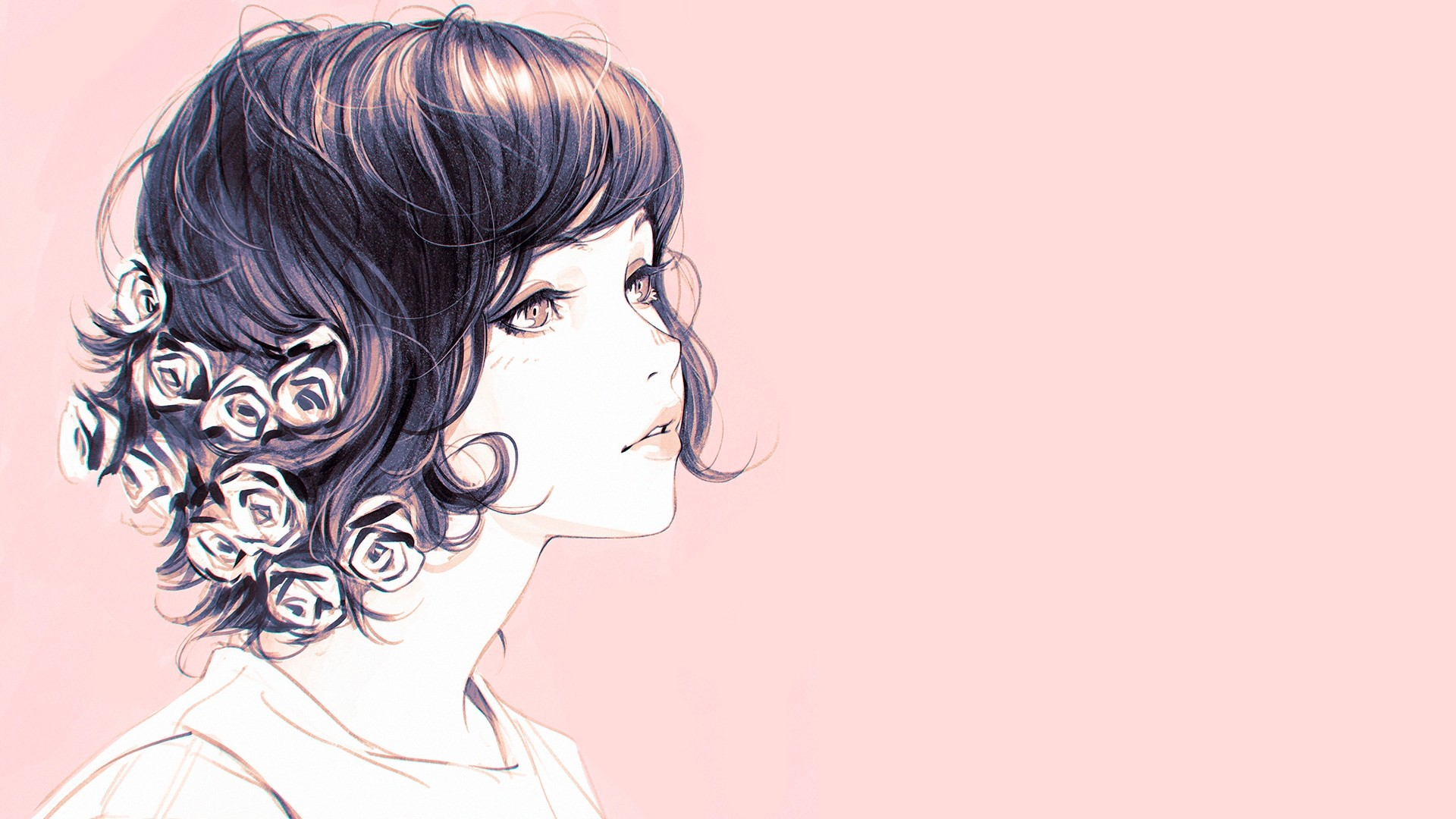 General 1920x1080 drawing artwork digital art Ilya Kuvshinov women flower in hair