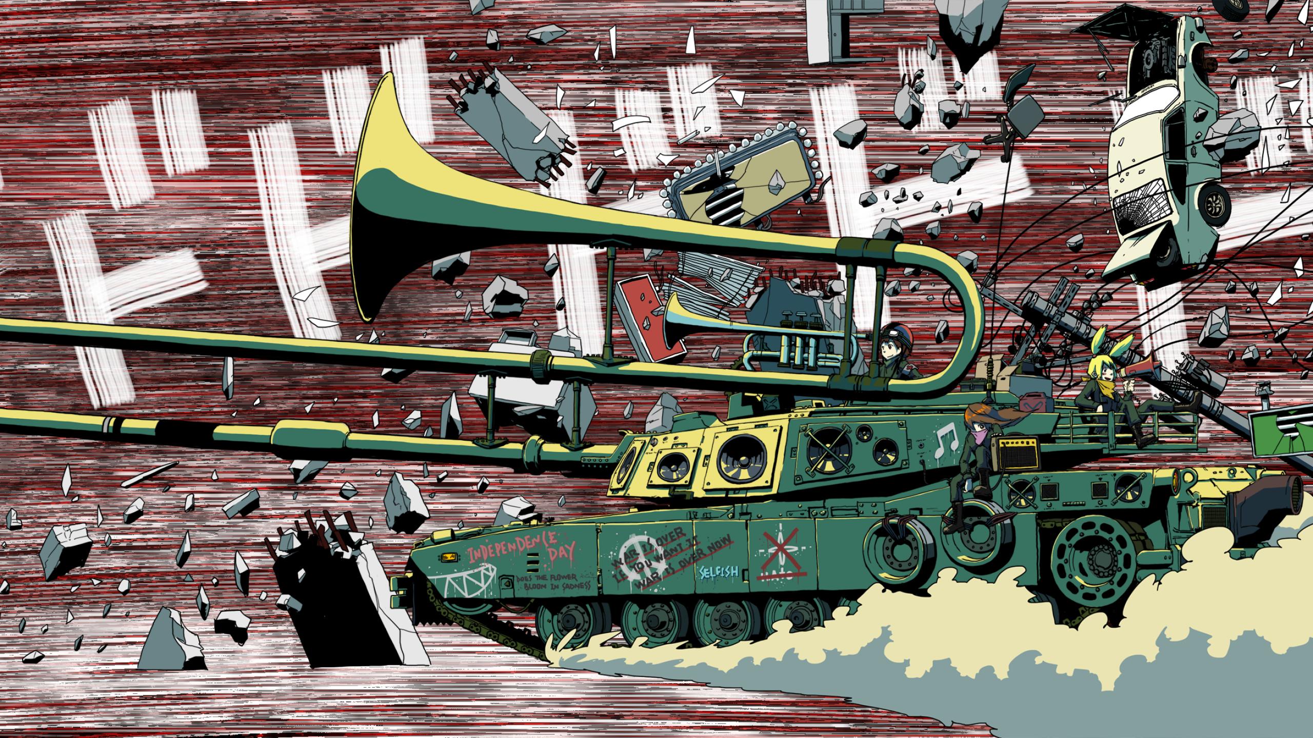 Anime 2560x1440 tank musical instrument artwork