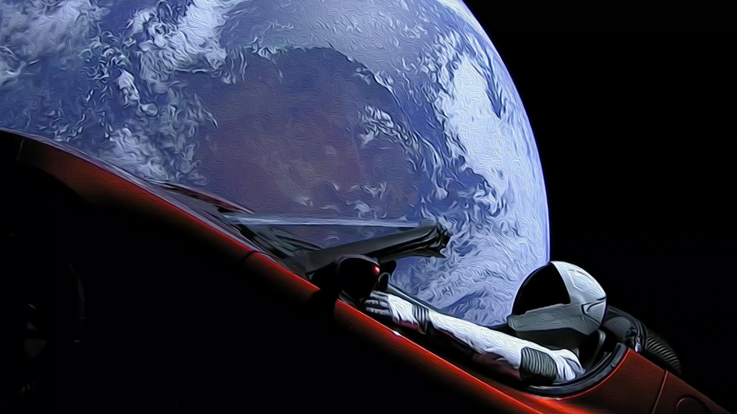 General 2560x1440 SpaceX Tesla Roadster Earth space car digital art