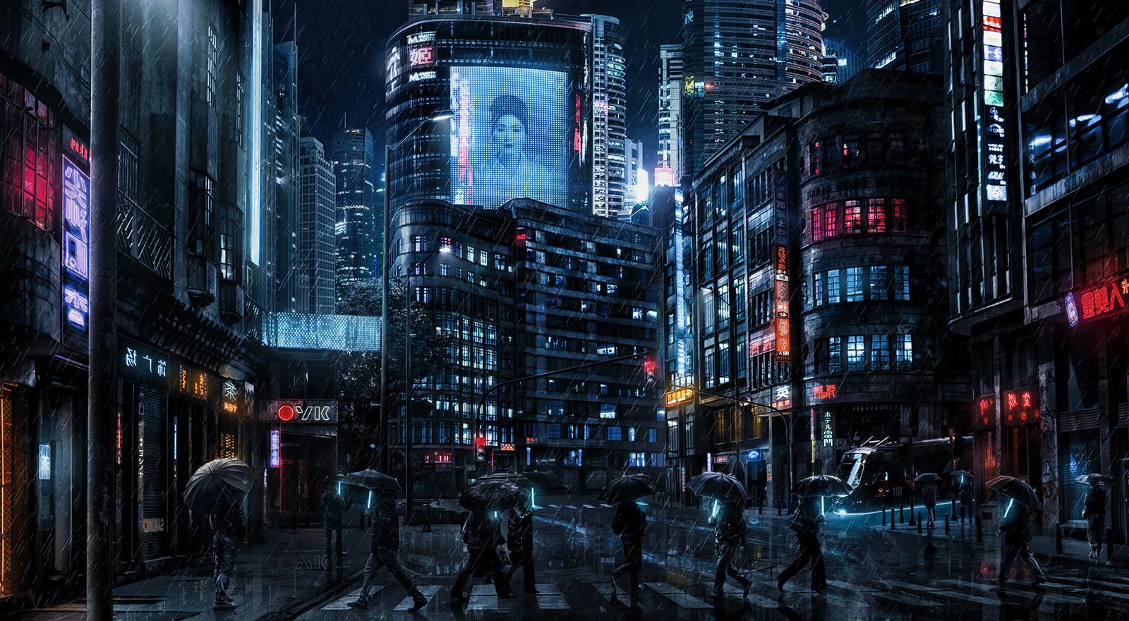 General 1600x880 Dark Cyberpunk cyber movies cyberpunk Blade Runner rain