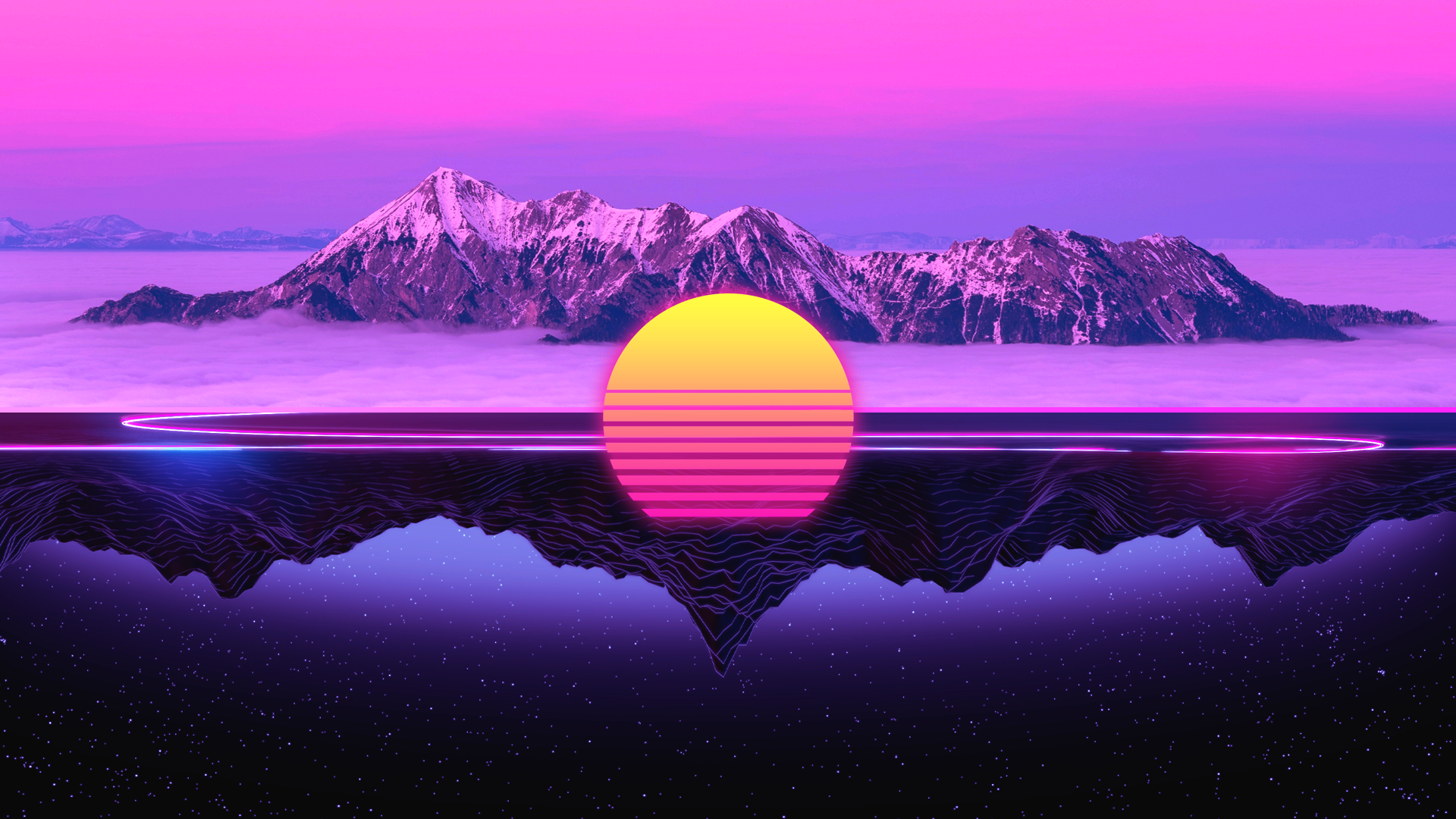 General 1920x1080 landscape Retrowave neon digital art mountains