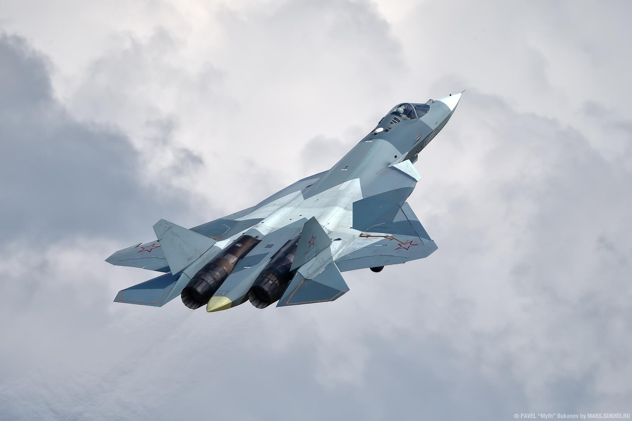 General 2048x1365 Russian Air Force Sukhoi Su-57 warplanes jet fighter clouds