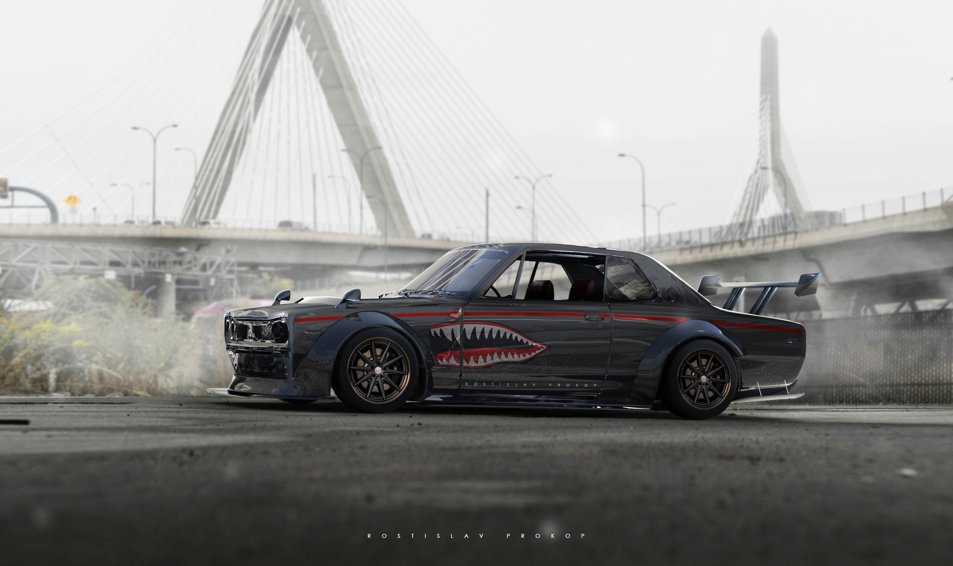 General 1920x1141 car Nissan city digital art futuristic Rostislav Prokop