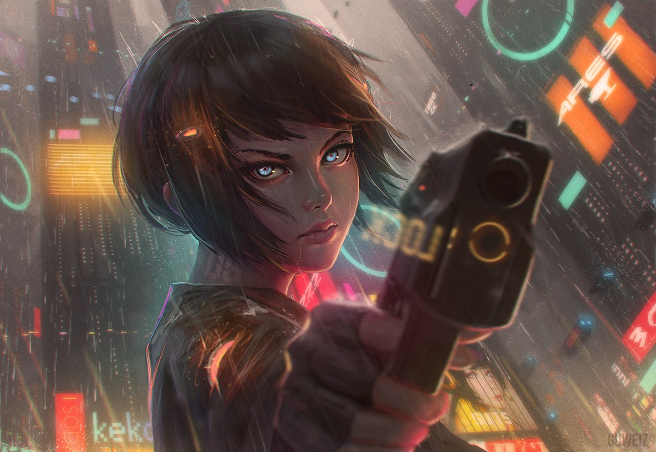 Anime 1306x900 anime anime girls short hair gun rain water weapon cyberpunk GUWEIZ girls with guns