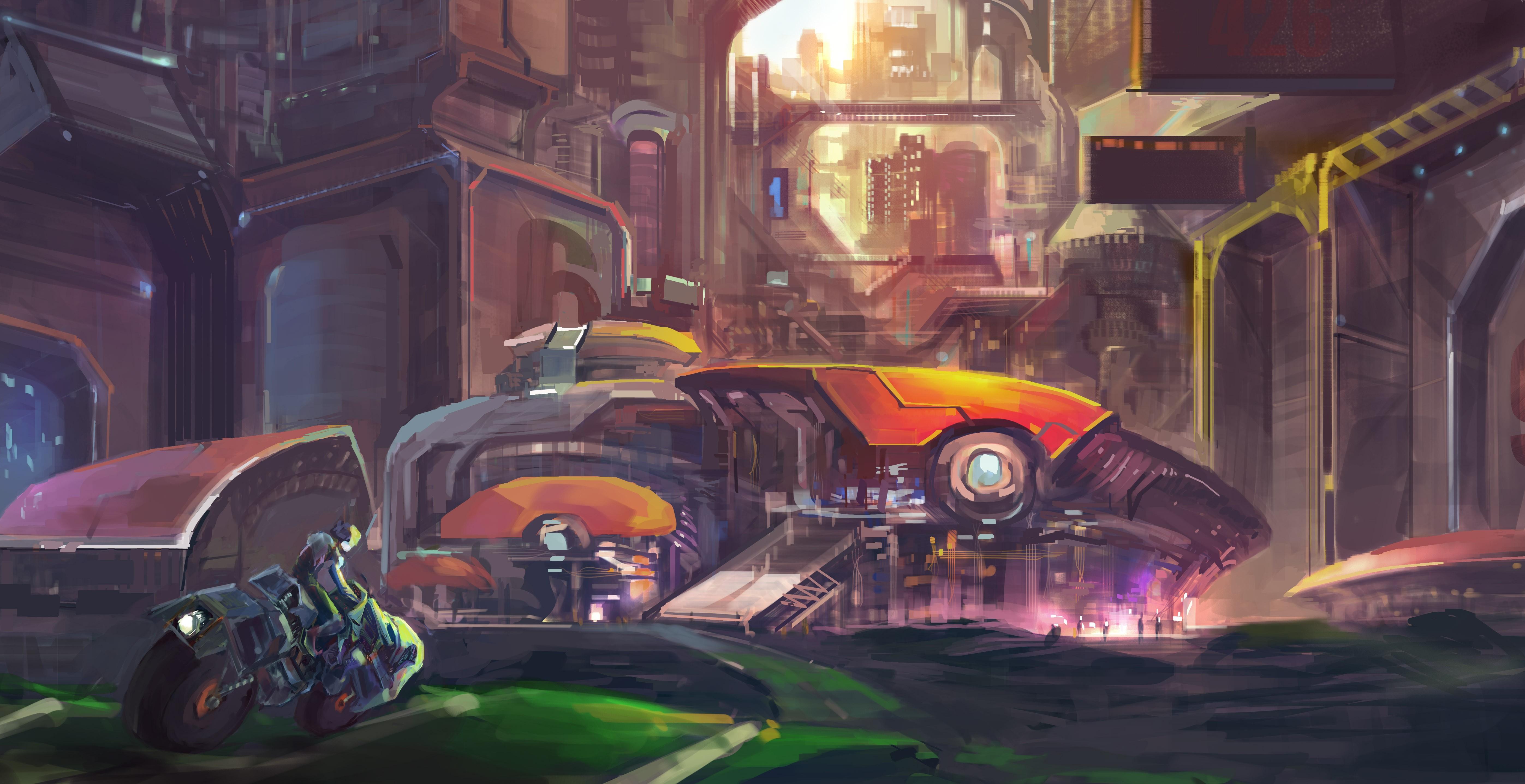 General 5588x2874 futuristic city artwork