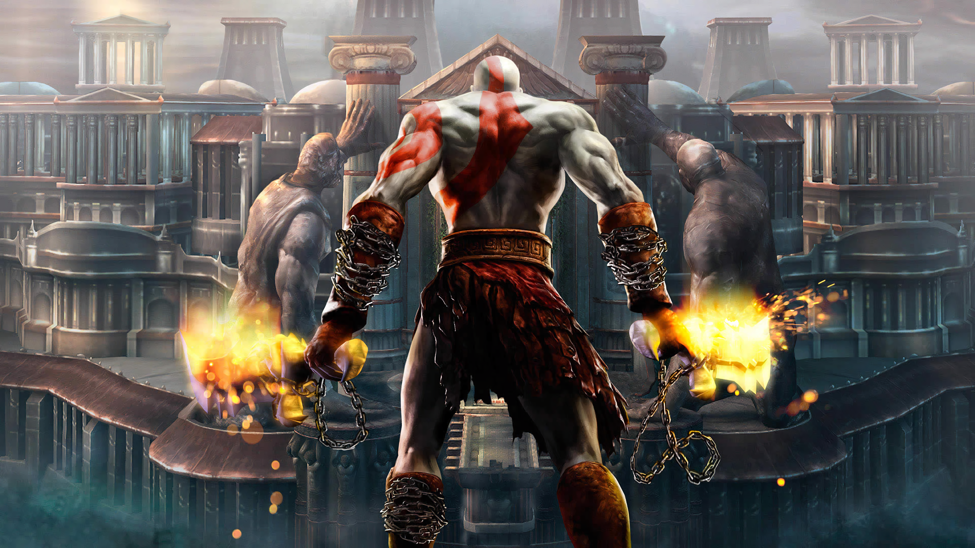 General 3840x2160 Kratos God of War video games mythology God of War II Sony Computer Entertainment video game man video game art fantasy art