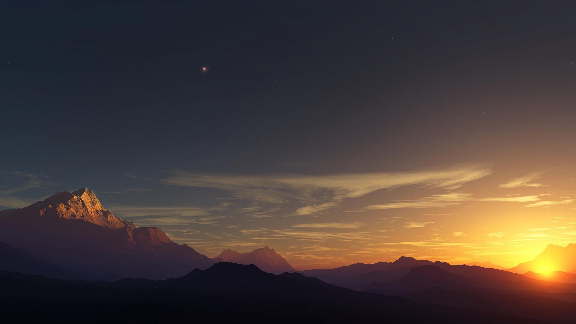 General 1920x1080 Sun mountains nature sky dusk sunset