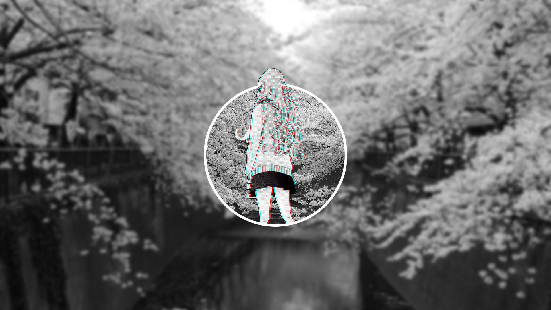 Anime 1920x1080 anime girls nature blurred glitch art monochrome anime