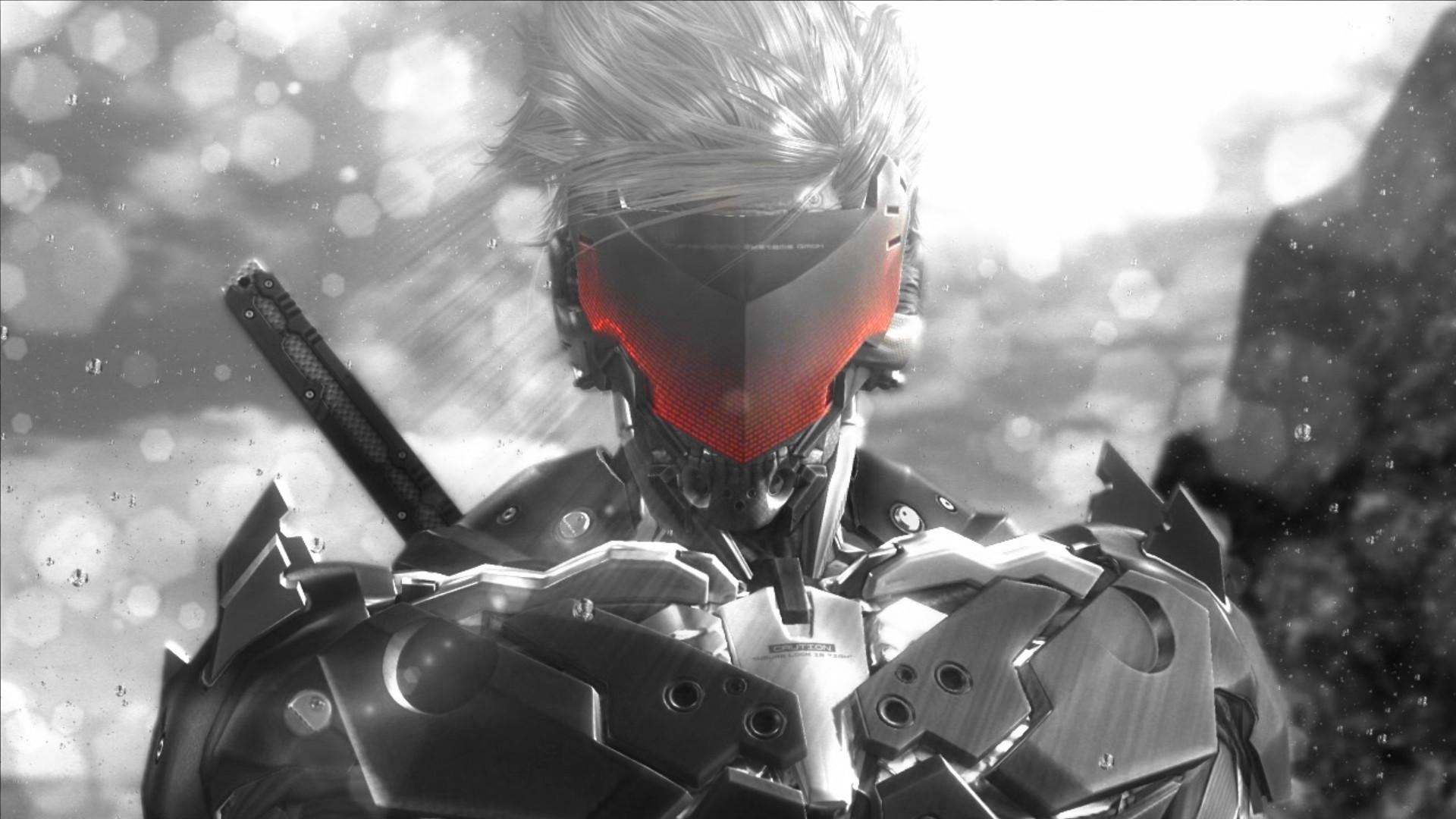 General 1920x1080 Metal Gear Rising: Revengeance Raiden ninja robots sword glowing monochrome cyborg