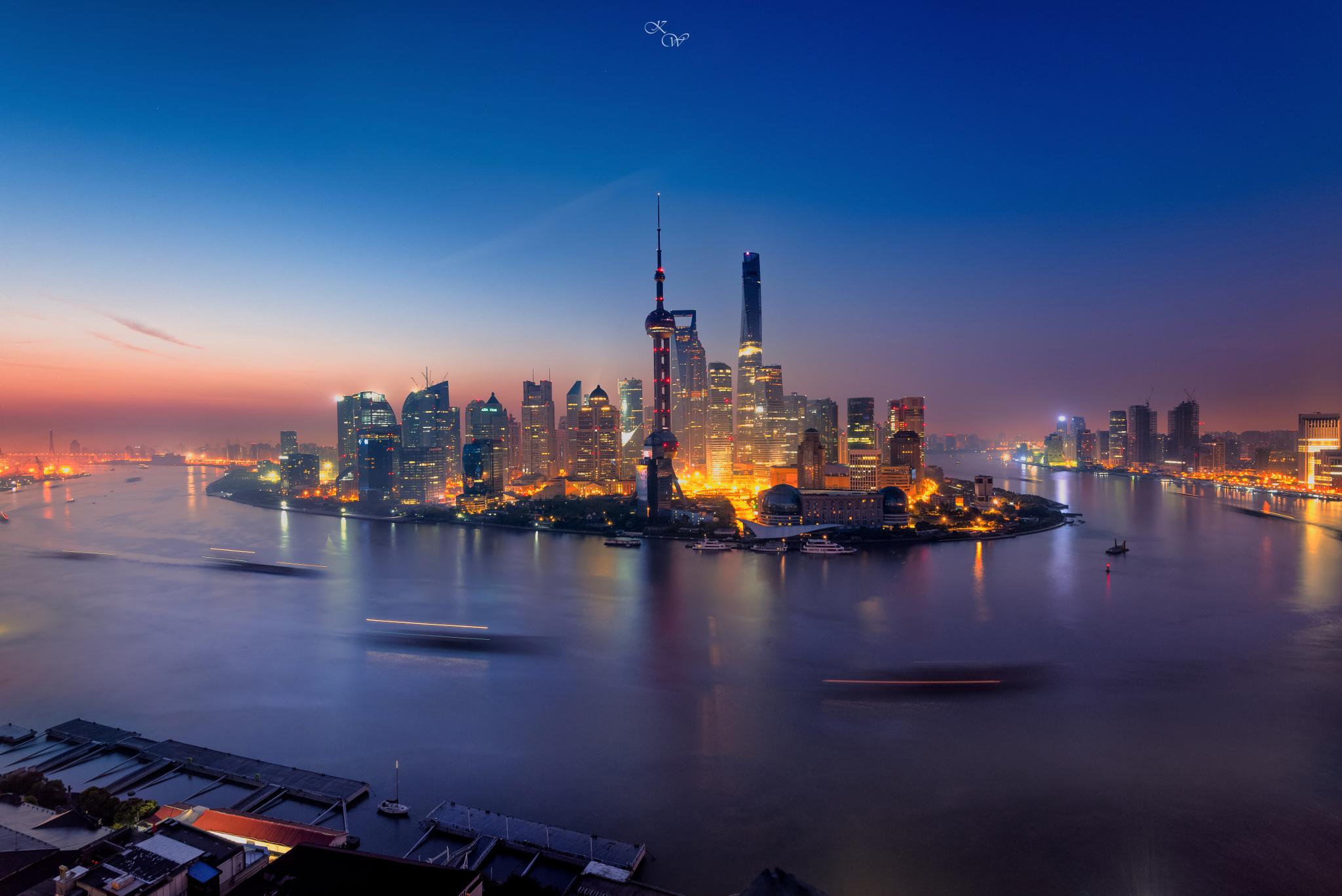 General 2048x1367 city long exposure water city lights Shanghai China