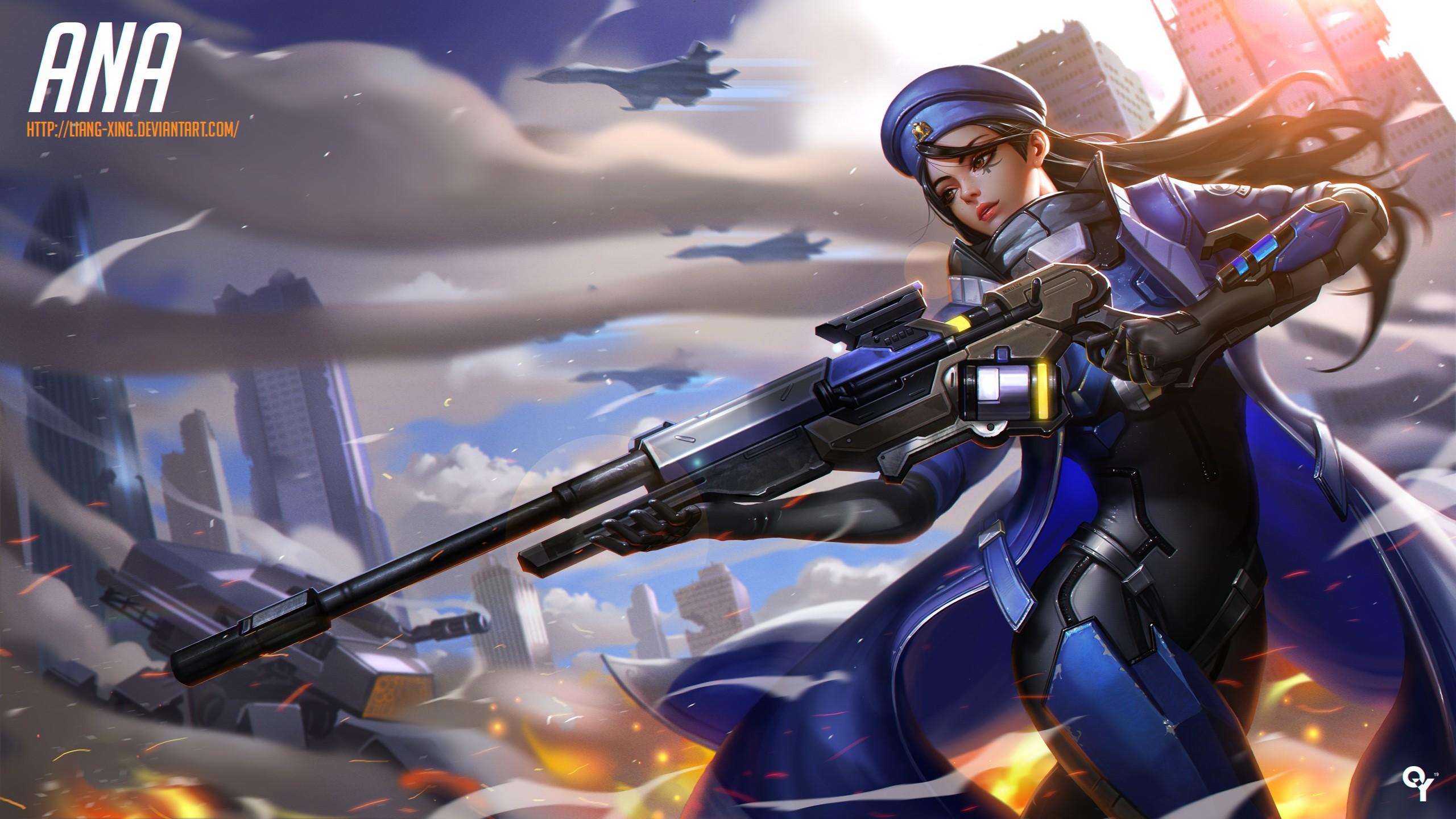 Anime 2560x1440 anime anime girls Overwatch Ana (Overwatch) bodysuit gun sniper rifle tattoo long hair