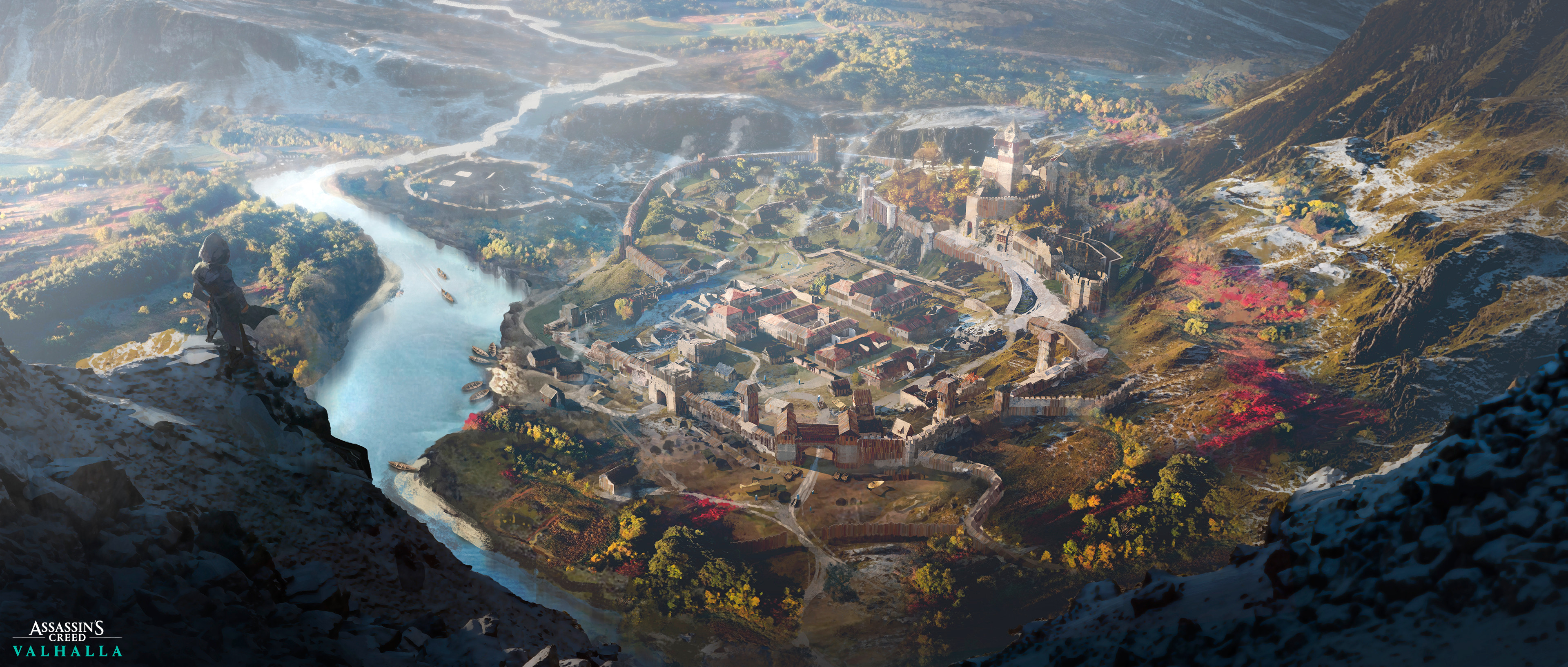 General 3840x1634 Tony Zhou Shuo lake landscape standing digital painting alone video game art Assassin's Creed fan art video games digital art artwork concept art ArtStation aerial view