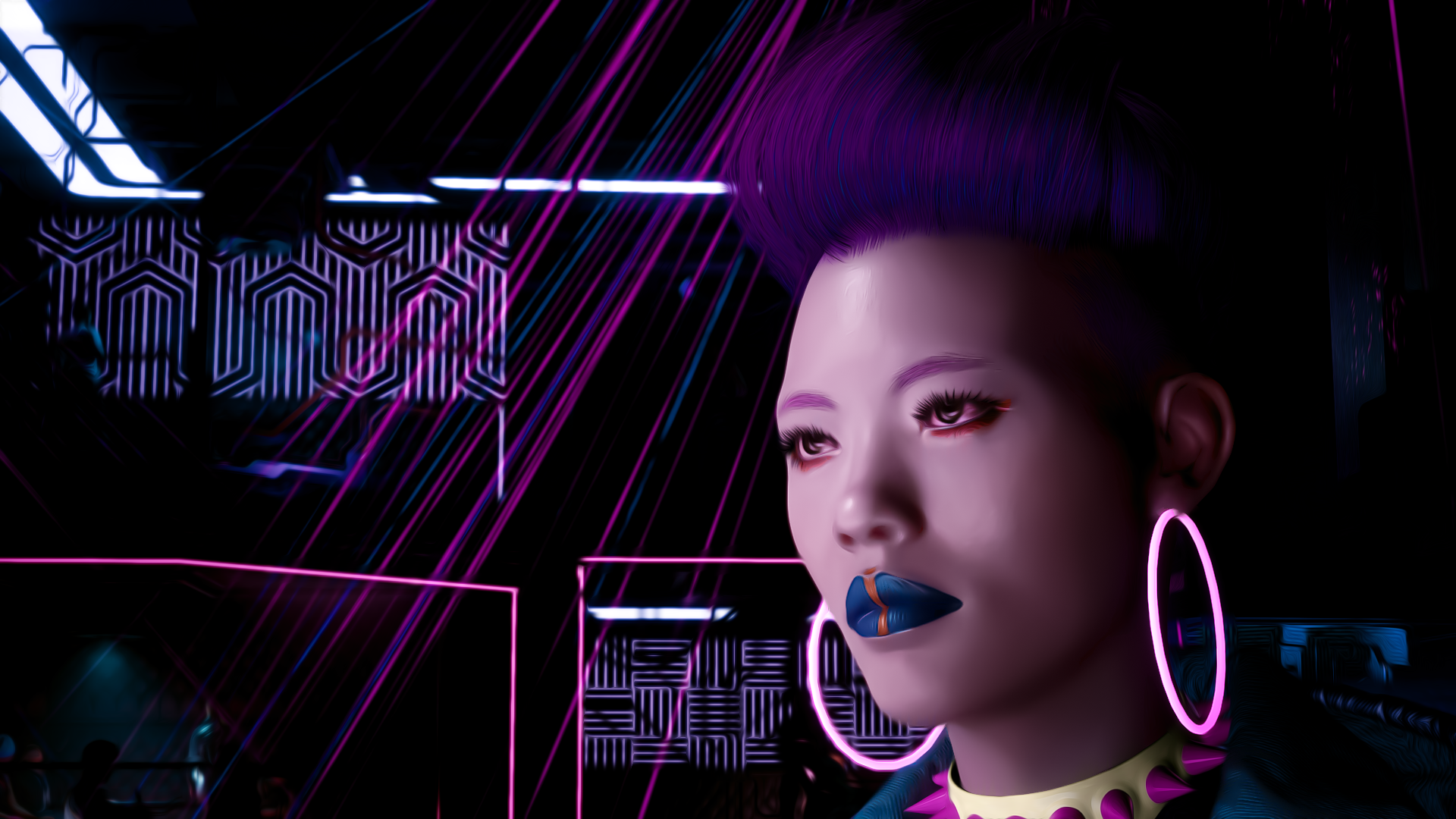 General 1920x1080 cyberpunk Cyberpunk 2077 video games PC gaming women hoop earrings video game girls makeup purple hair Maiko (Cyberpunk 2077)