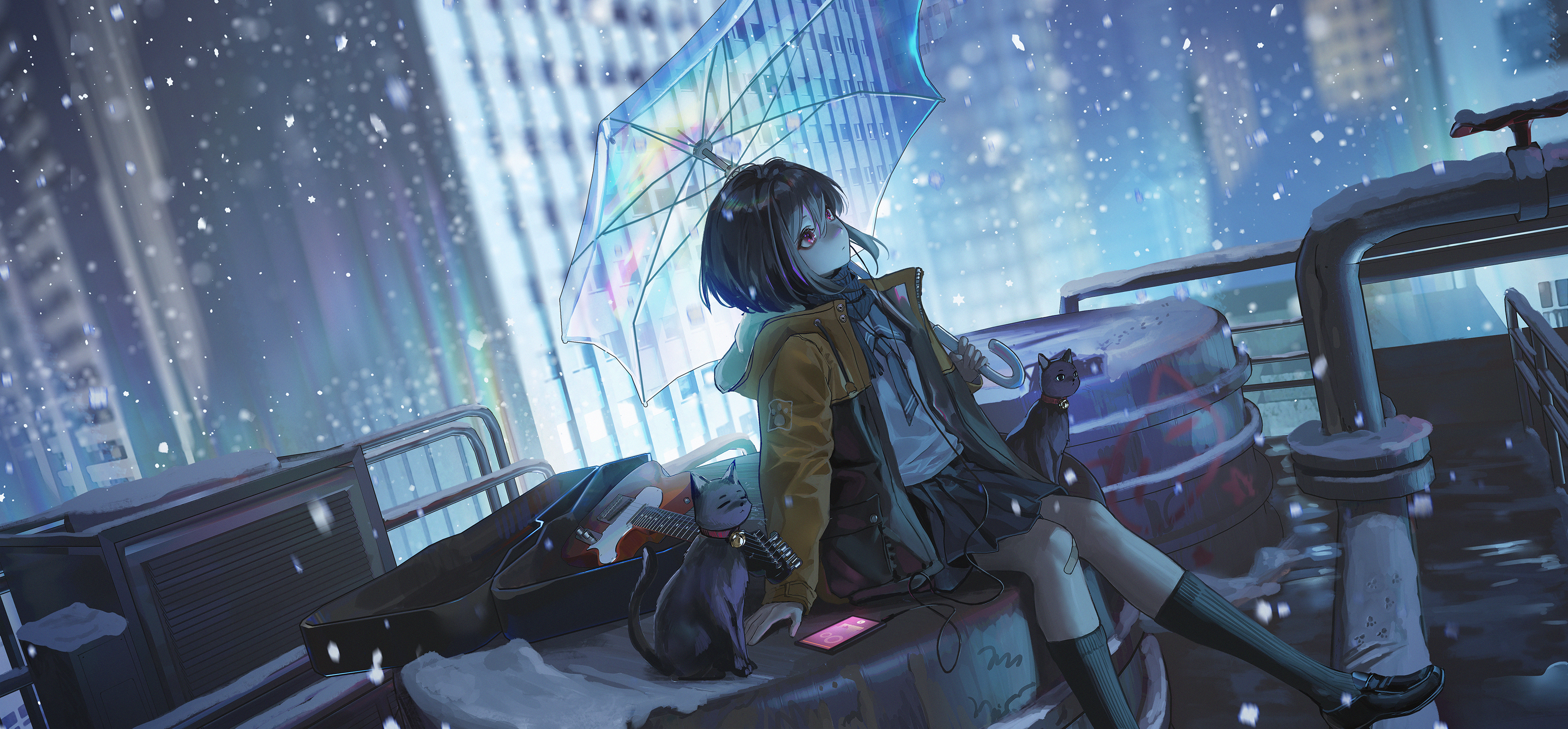 Anime 3226x1500 umbrella cats guitar snow rooftops city snowflakes snow flakes anime girls school uniform short hair dark hair red eyes kirino ttk