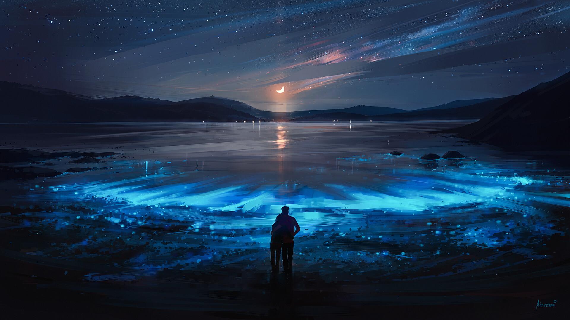 General 1920x1080 Aenami painting digital art night landscape blue