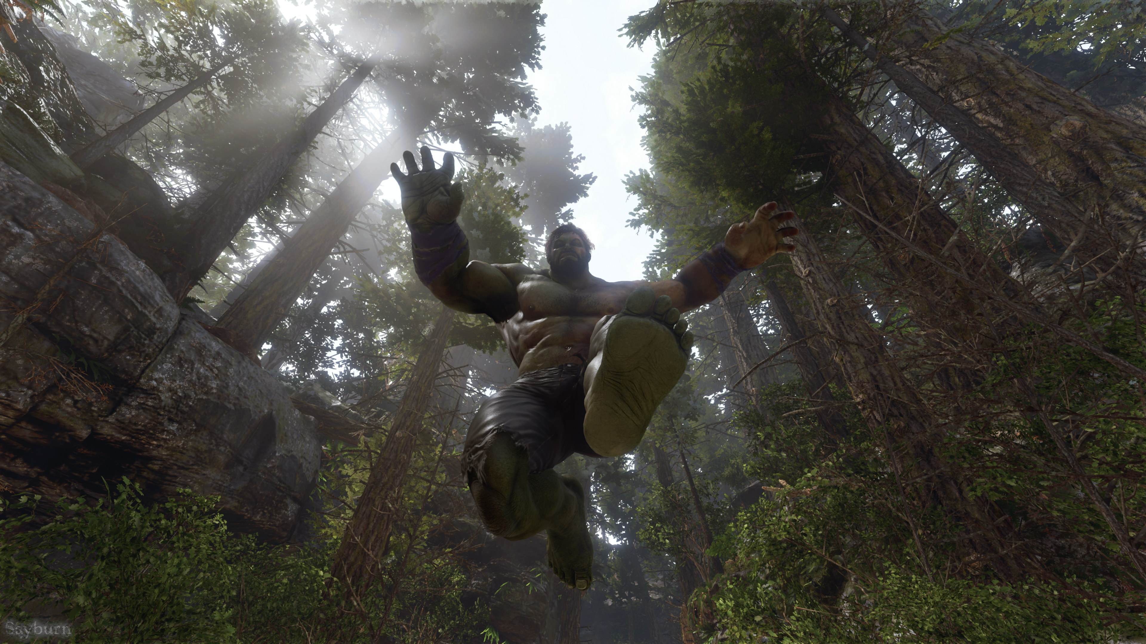 General 3840x2160 superhero jumping worm's eye view forest leaves in-game screen shot Marvel Comics trees Hulk low-angle frontal view