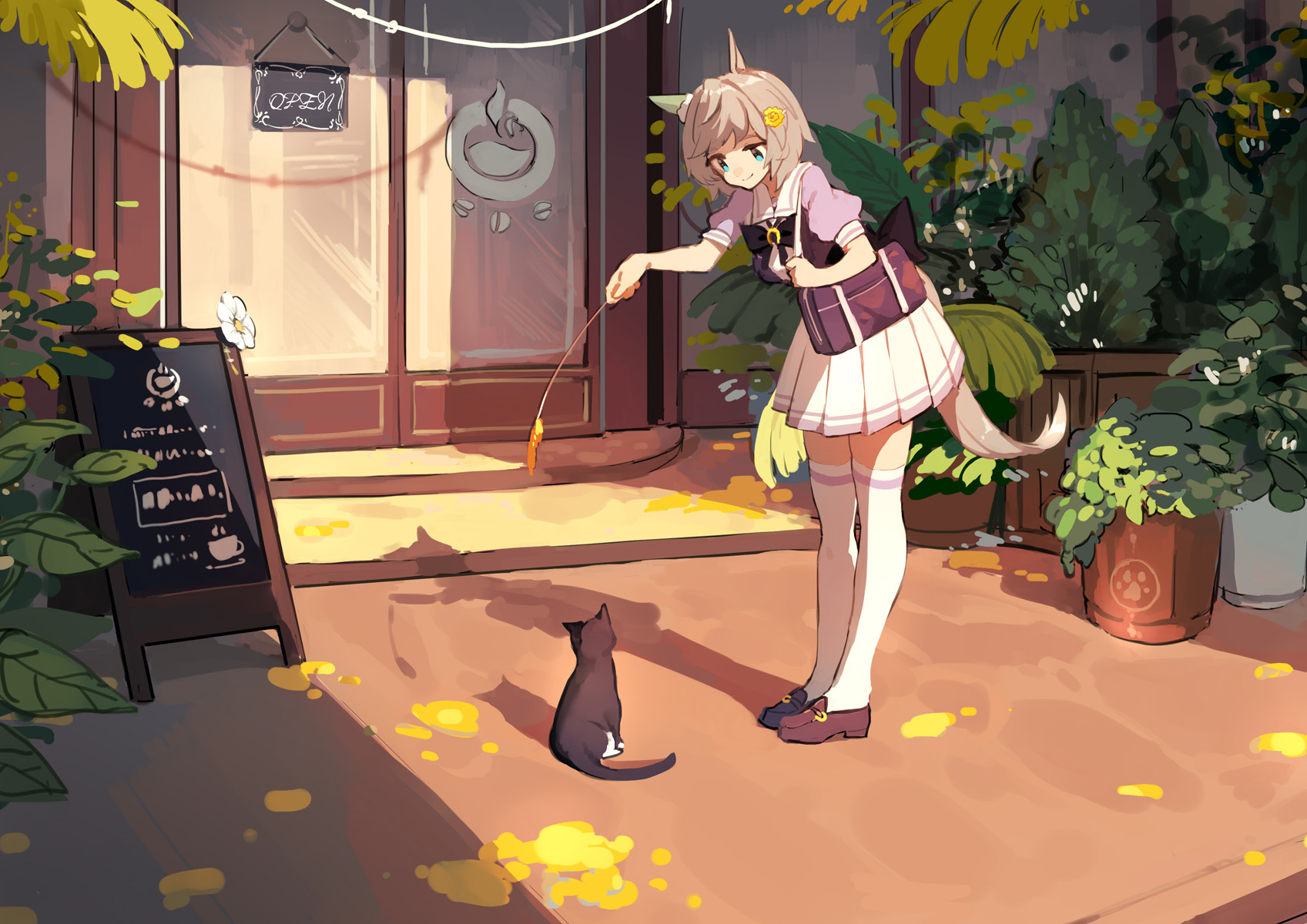 Anime 1697x1200 Uma Musume Pretty Derby anime girls short hair cats animal ears grey hair Seiun Sky (Uma Musume) school uniform fantasy girl