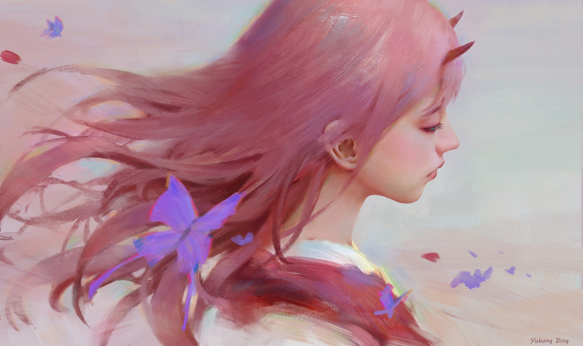 Anime 1920x1139 Zero Two (Darling in the FranXX) Darling in the FranXX anime girls pink hair long hair kimono butterfly artwork digital art horns fan art fantasy girl make up Strelizia (DARLING in the FRANXX) Code:002 fantasy art
