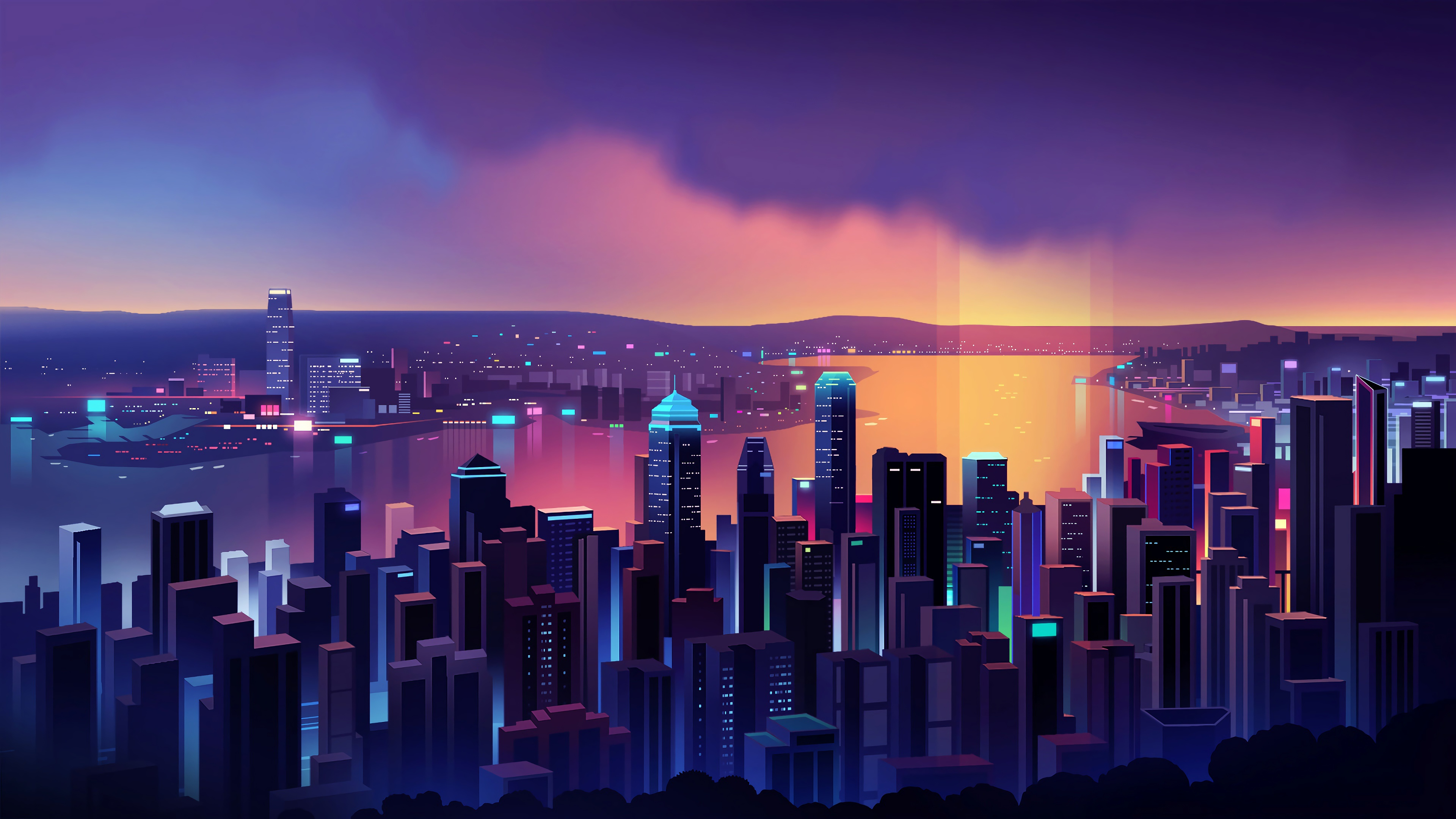 General 3840x2160 digital digital art artwork illustration minimalism vector vector art vector graphics city city lights lights neon neon lights cityscape architecture modern building tower skyscraper water sea landscape dark dusk sun rays Sun skyline Romain Trystram sky skyscape colorful glowing Flatdesign Hong Kong
