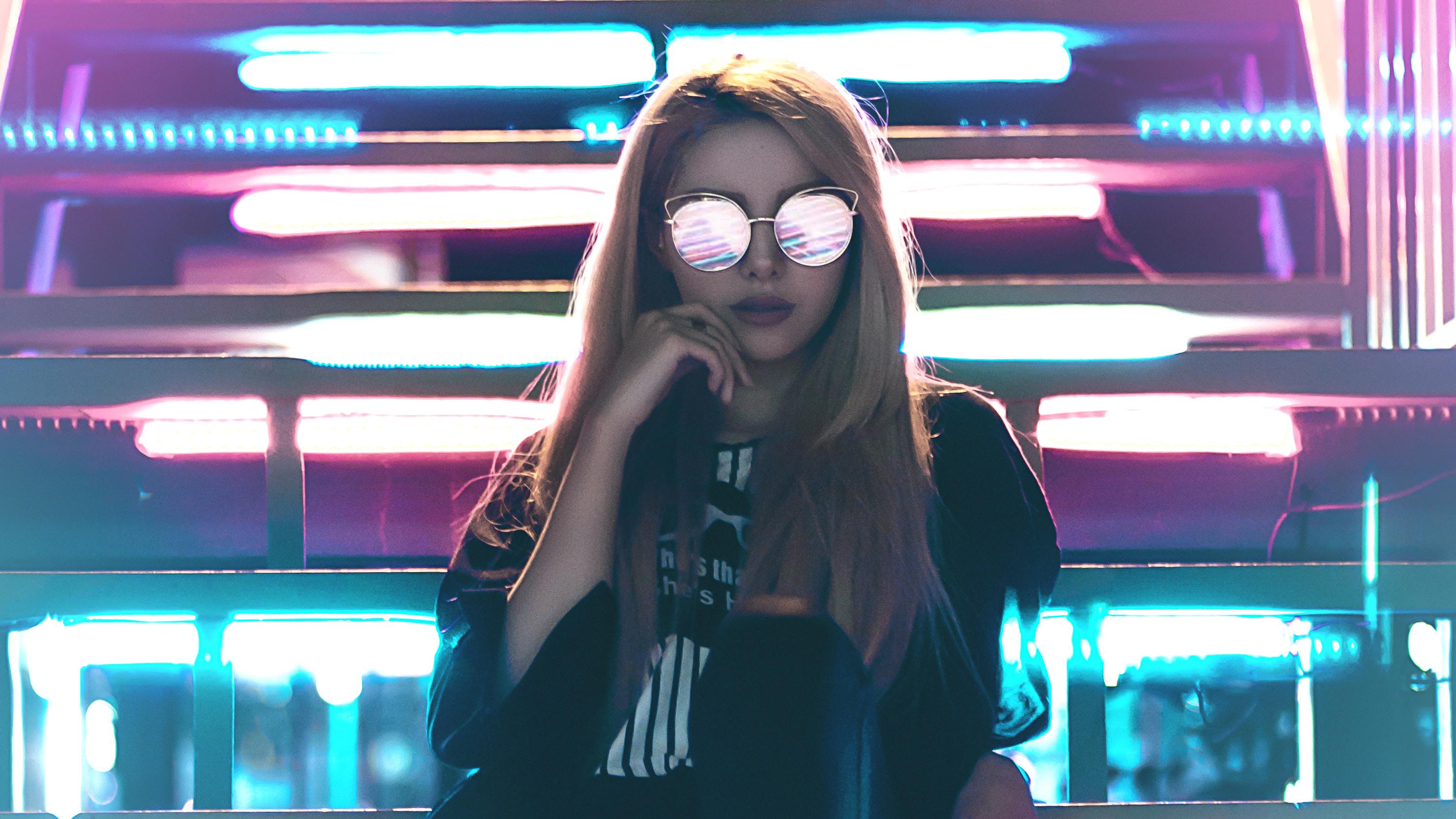 General 3008x1692 women blonde glasses neon night fantasy girl futuristic digital art modern Ali Pazani cyan purple