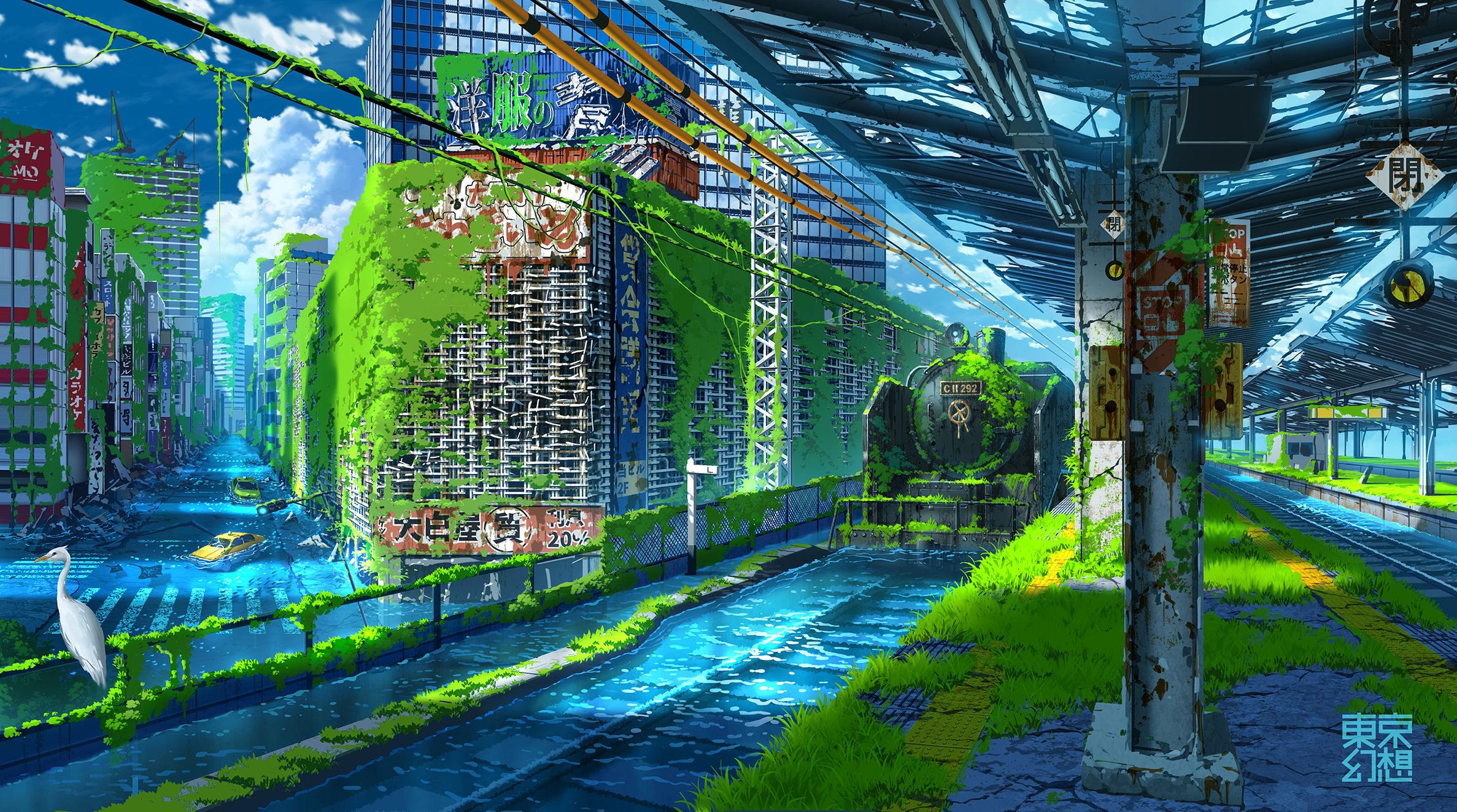 Anime 2374x1323 anime landscape apocalyptic ruins ruin water city cityscape clouds colorful architecture modern urban vehicle car transport train train station railway nature grass digital digital art artwork drawing digital painting fantasy art anime sky sky