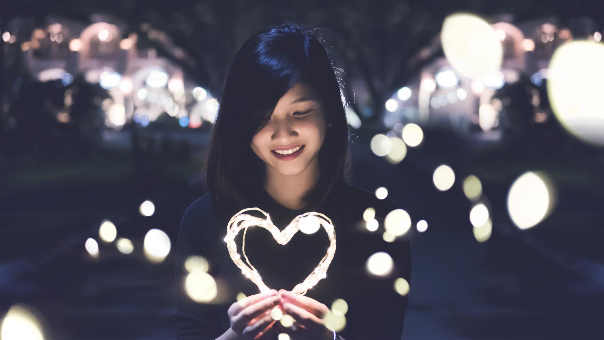 People 1920x1080 Japanese women heart lights smiling women urban women outdoors Asian