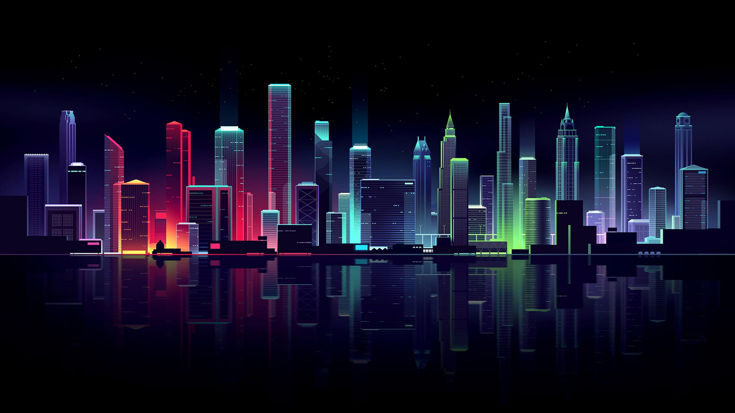 General 2560x1440 building lights illustration Romain Trystram cityscape skyline colorful reflection digital art neon lights futuristic city neon dark night