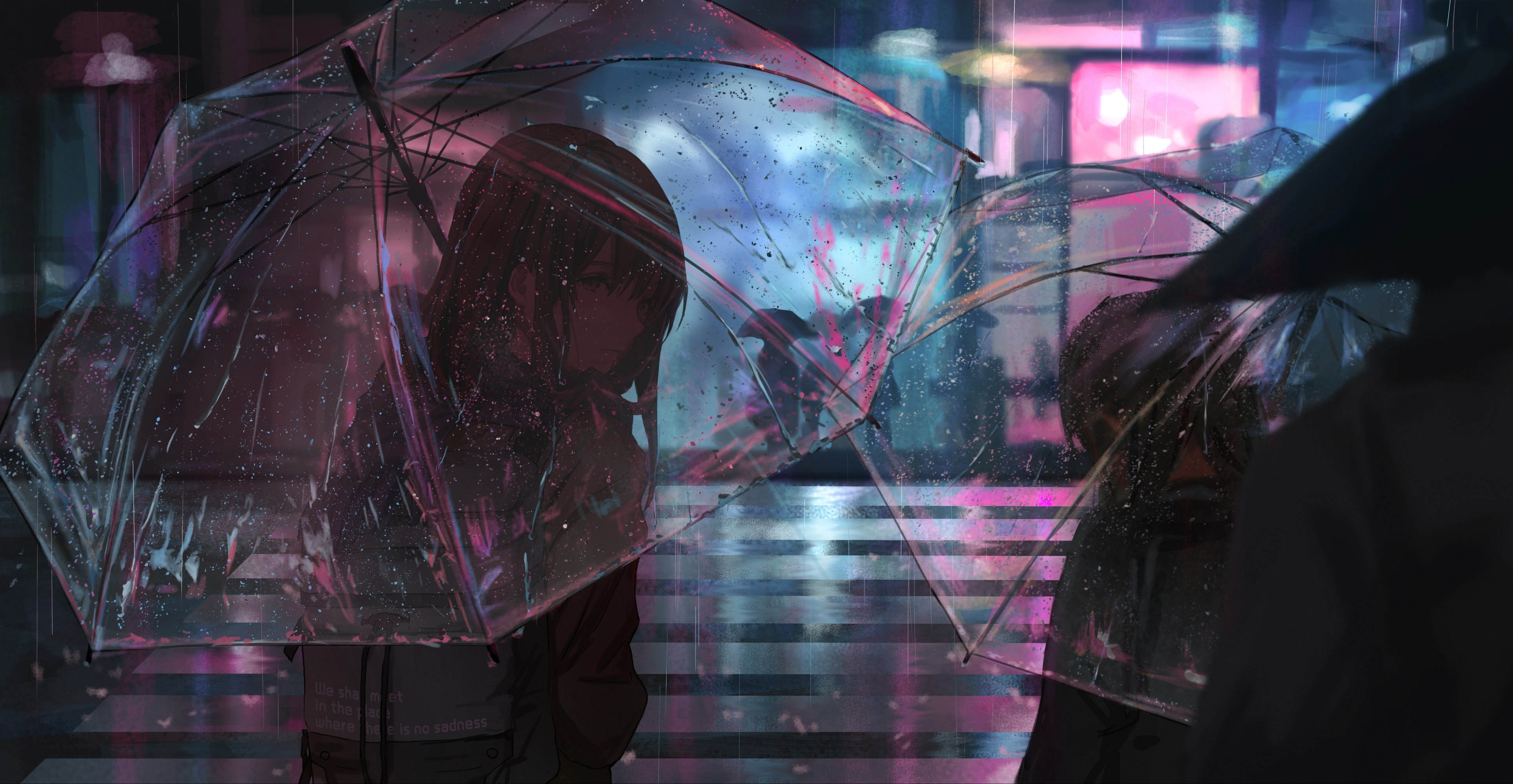 Anime 3857x2000 umbrella rain night catzz