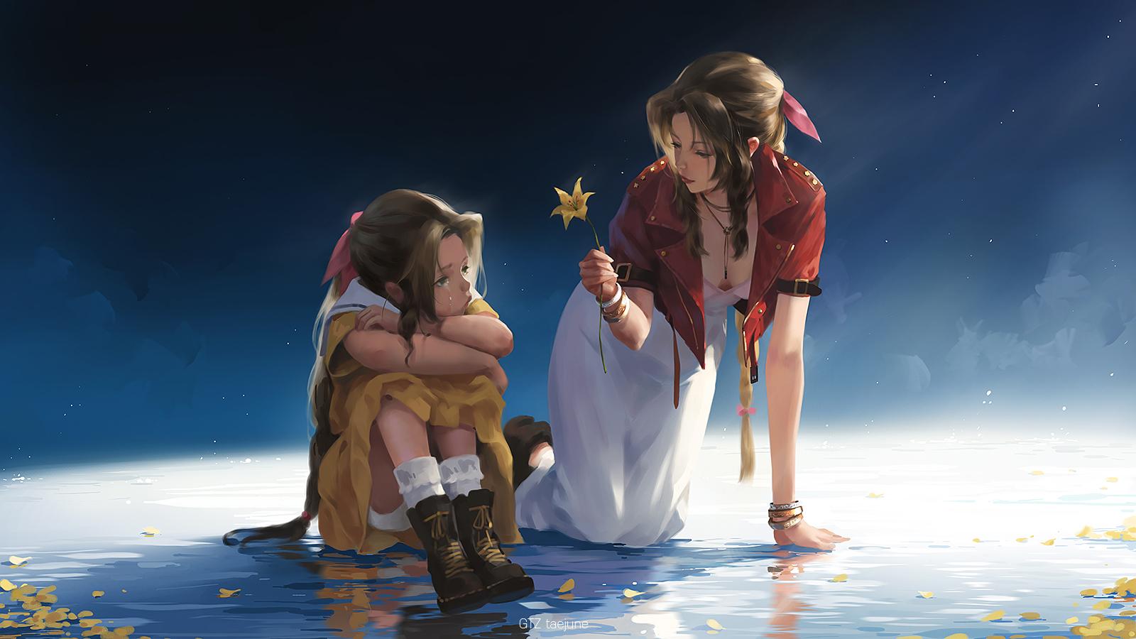 Anime 1600x900 Final Fantasy Final Fantasy VII Aerith Gainsborough dress flowers Taejune Kim anime