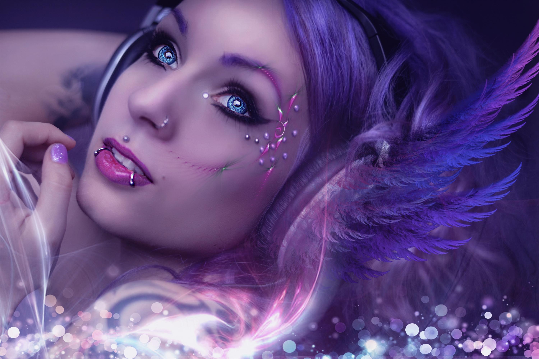 General 3000x2000 women purple background fractal model blue eyes Photoshop photo manipulation