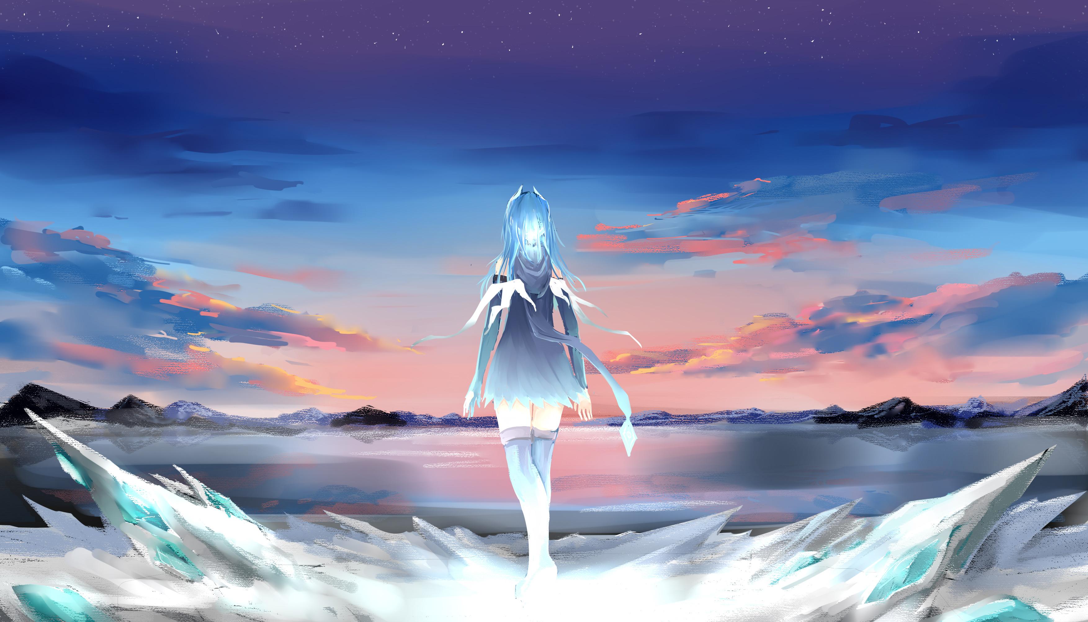 Anime 3507x2007 anime anime girls Pixiv Fantasia clouds mountains blue hair long hair sunset sea stars ribbons walking ice