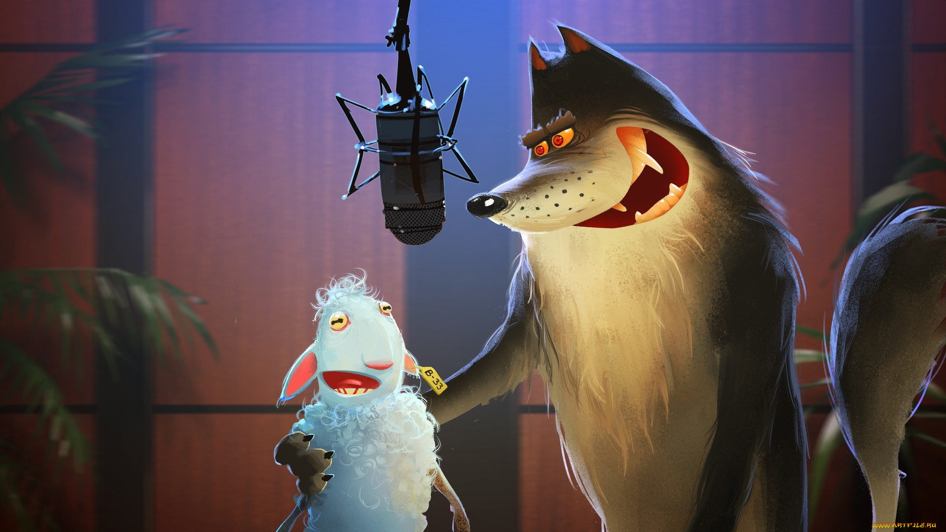 General 1920x1080 humor sheep wolf artwork microphone