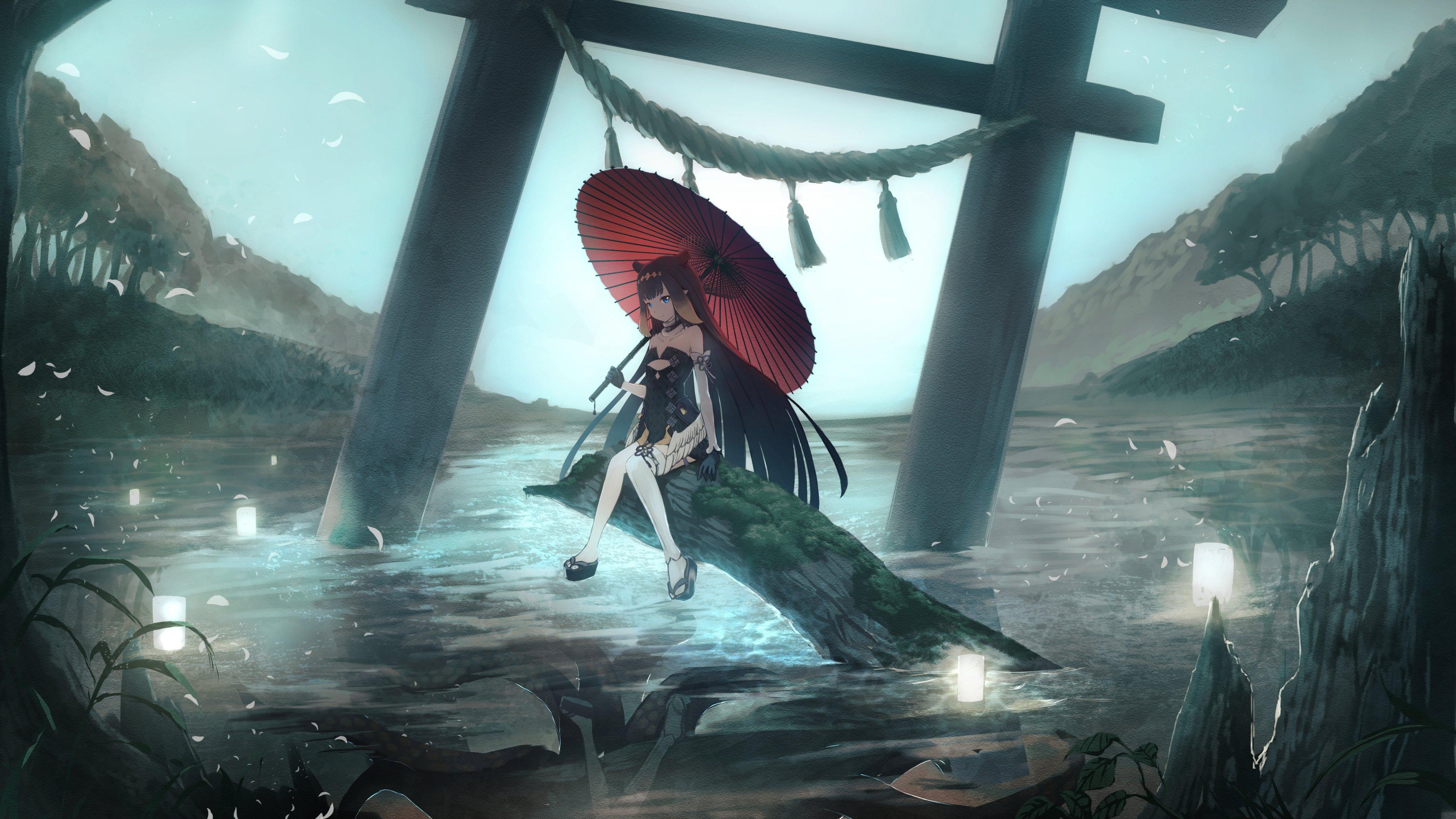 Anime 4096x2304 Hololive Virtual Youtuber Ninomae Ina'nis umbrella water long hair anime anime girls moescape Namako