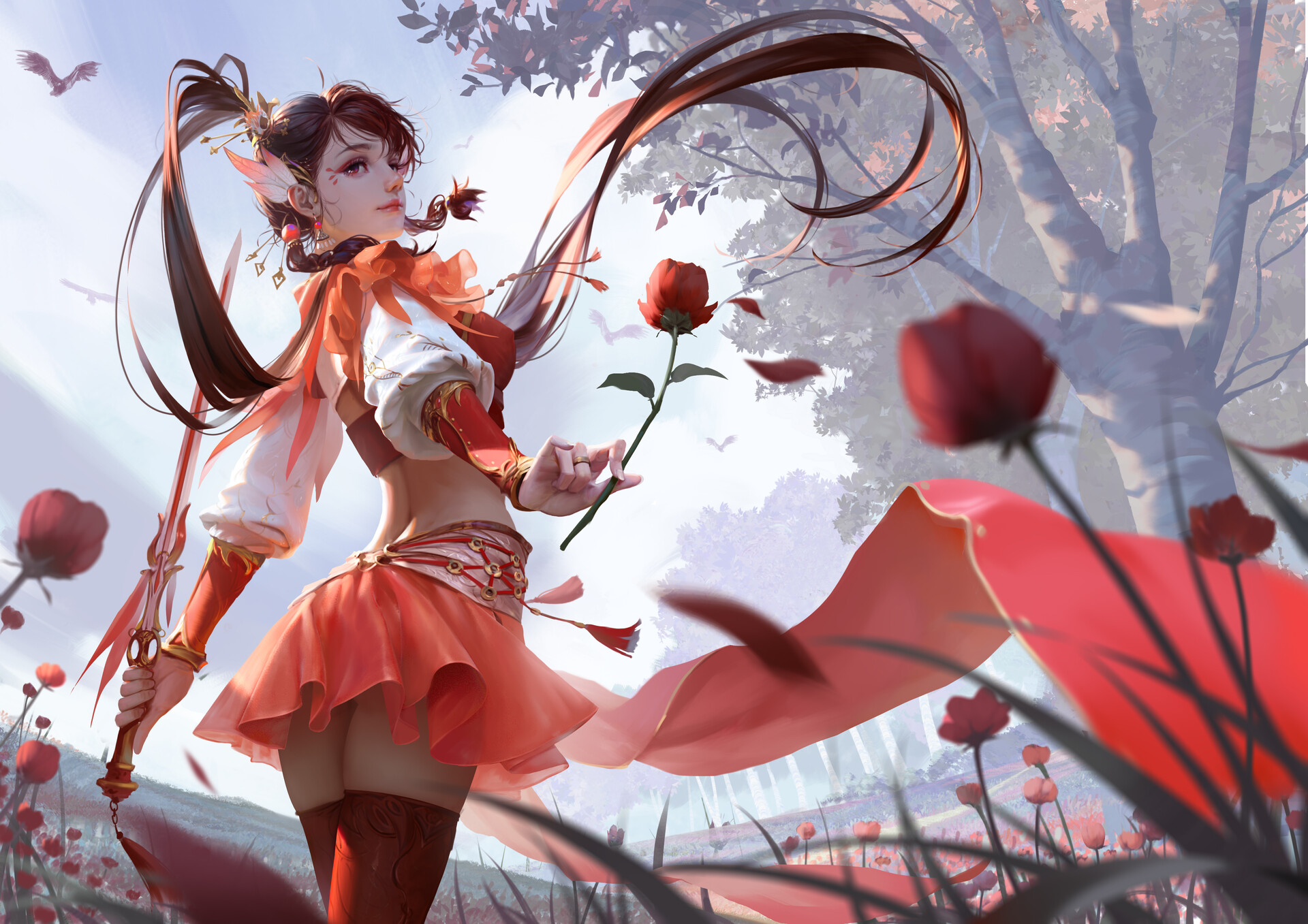 General 1920x1357 Rui Li drawing women brunette ponytail face paint looking away warrior sword skirt red clothing thigh-highs flowers poppies birds field wind low-angle anime girls girls with swords long hair rose miniskirt trees San guo sha