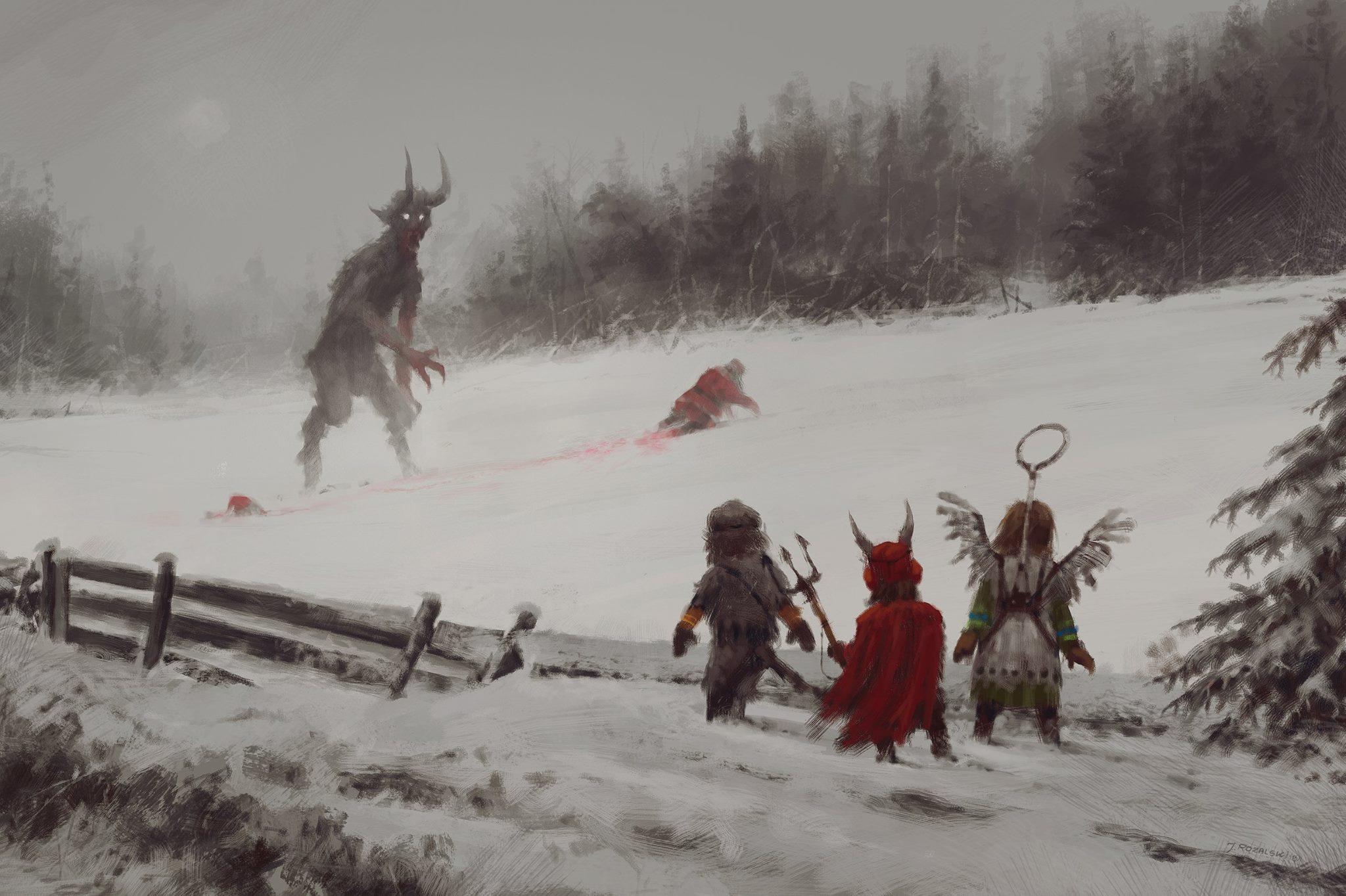 General 2048x1364 artwork landscape children costumes demon horror snow digital art Santa Claus blood Jakub Różalski winter Krampus