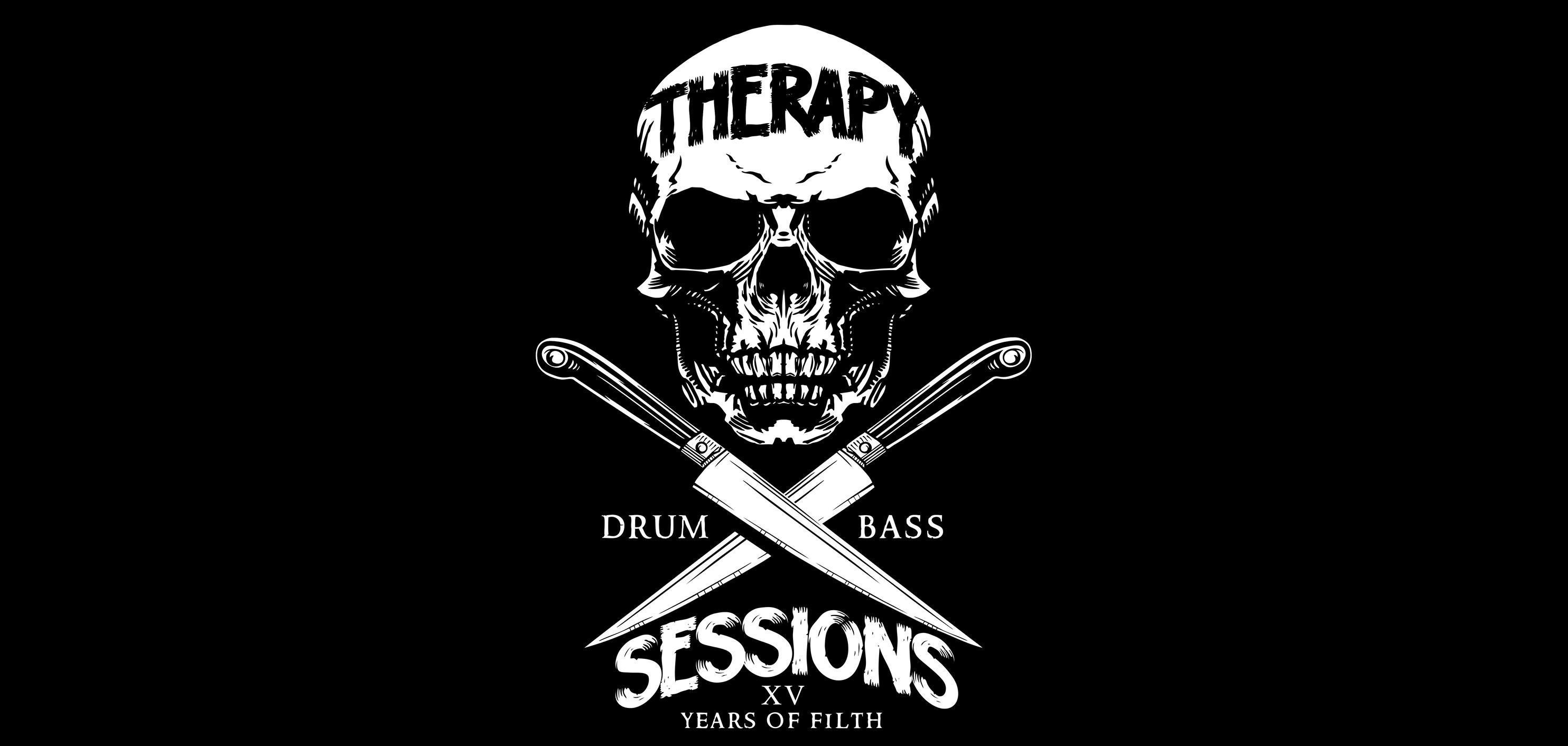 General 2968x1412 Therapy Session drum and bass logo logotype neurofunk rave electronic music skull monochrome knife