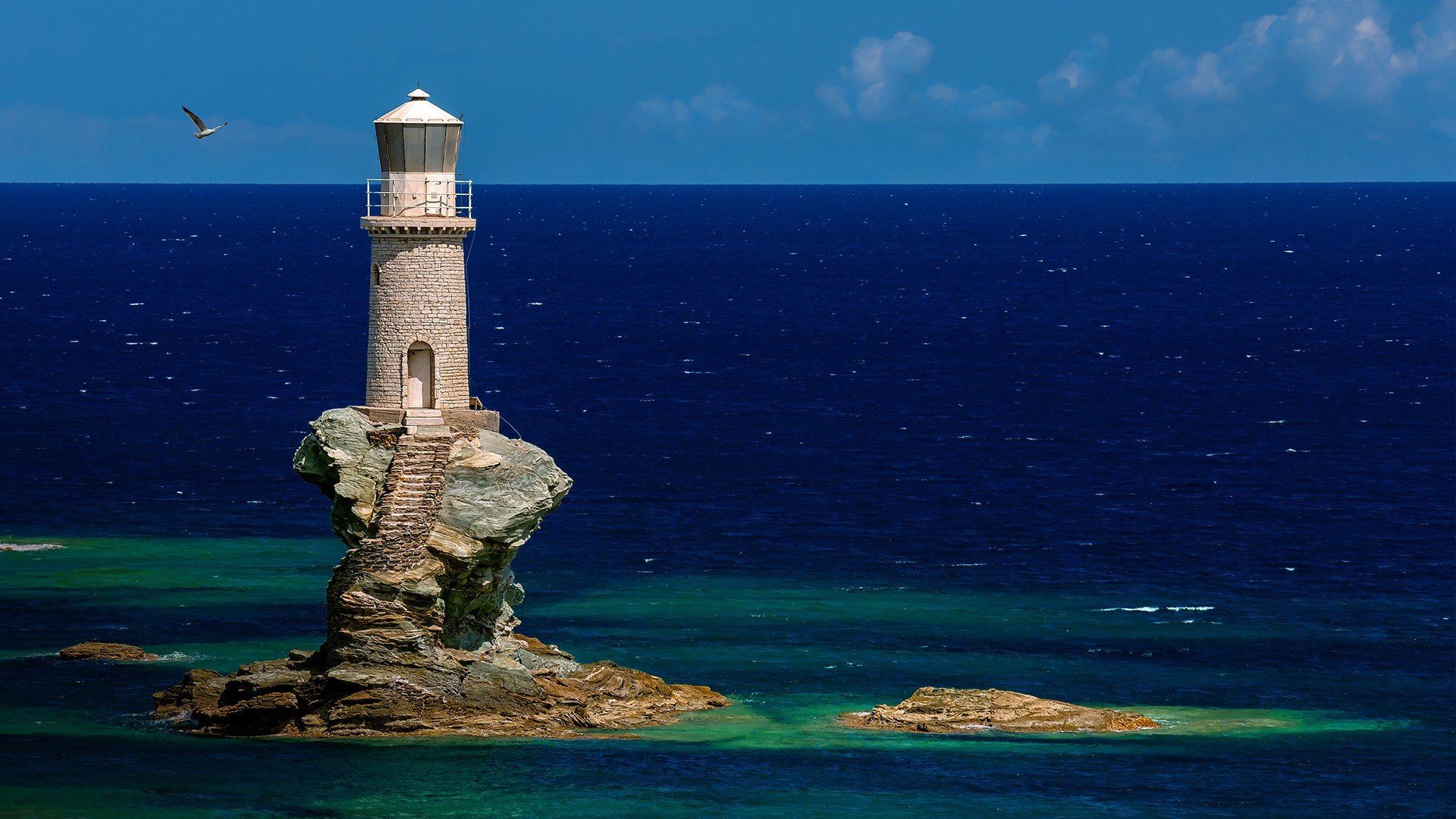 General 1920x1080 nature landscape water sea rocks lighthouse horizon clouds sky Faro Tourlitis Greece